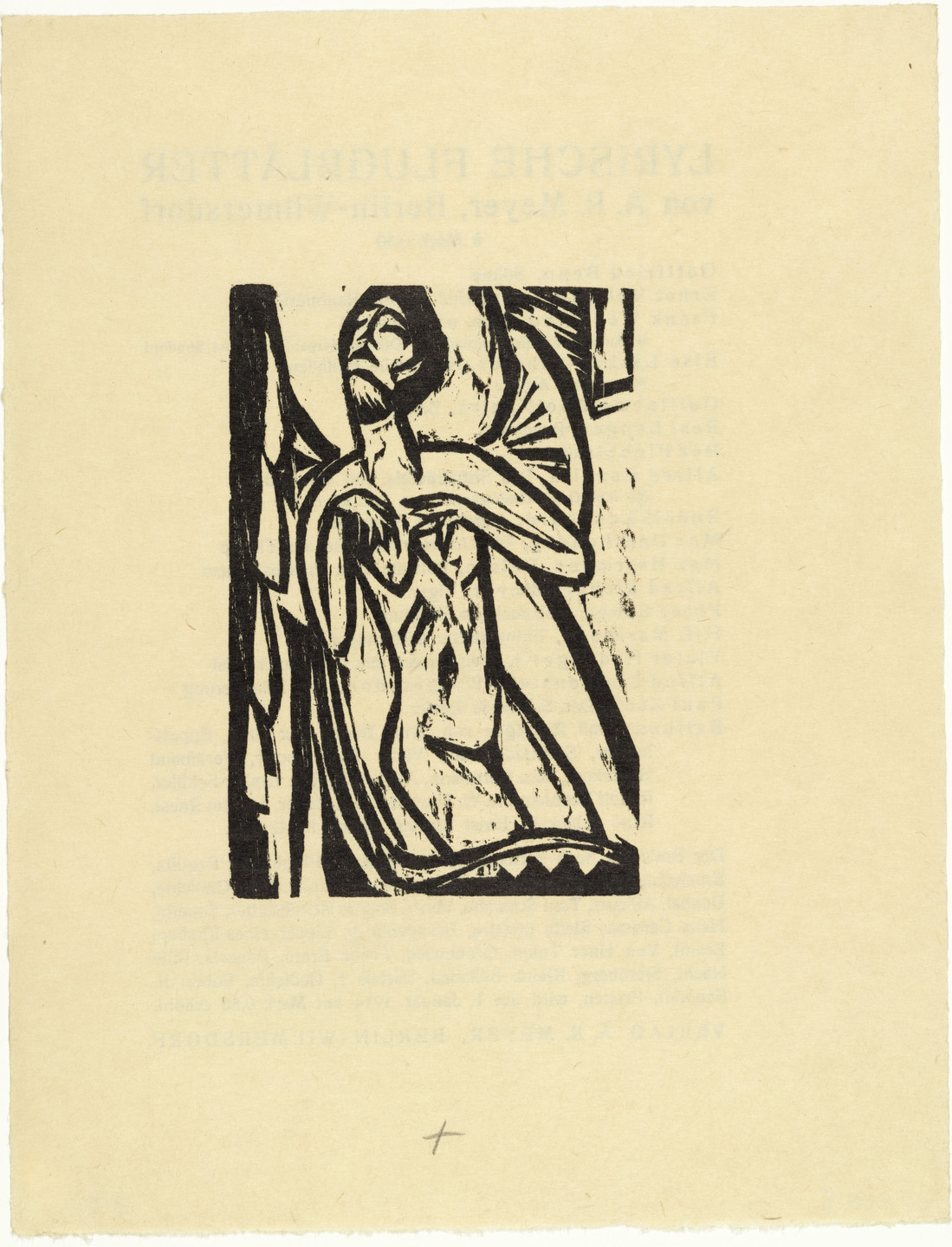 Ernst Ludwig Kirchner. Dying Old Maid (Sterbendes altes Fräulein) from the illustrated book Das Stiftsfräulein und der Tod (The Canoness and Death). (1912, published 1913)