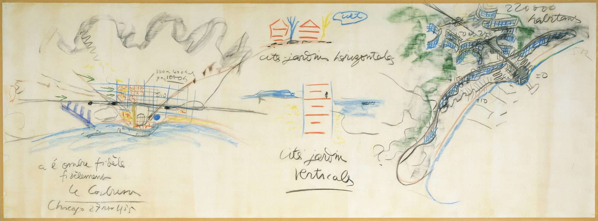 "Le Corbusier (Charles-Édouard Jeanneret). Plans for Algiers and Barcelona and ""cité-jardin verticale"" (vertical garden city) drawing made during a lecture in Chicago November 27, 1935. 1935"