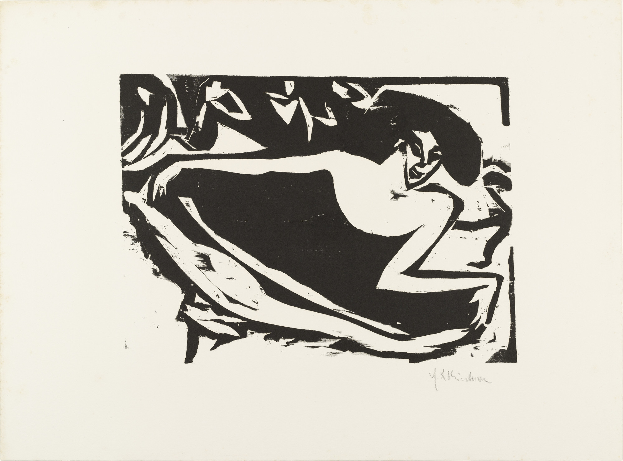 Ernst Ludwig Kirchner. Dancer with Raised Skirt (Tänzerin mit gehobenem Rock) from Brücke 1910. 1909, published 1910