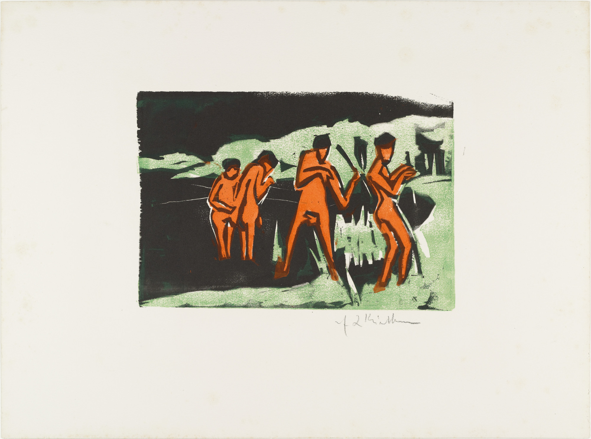 Ernst Ludwig Kirchner. Bathers Throwing Reeds (Mit Schilf werfende Badende) from Brücke 1910. 1909, published 1910