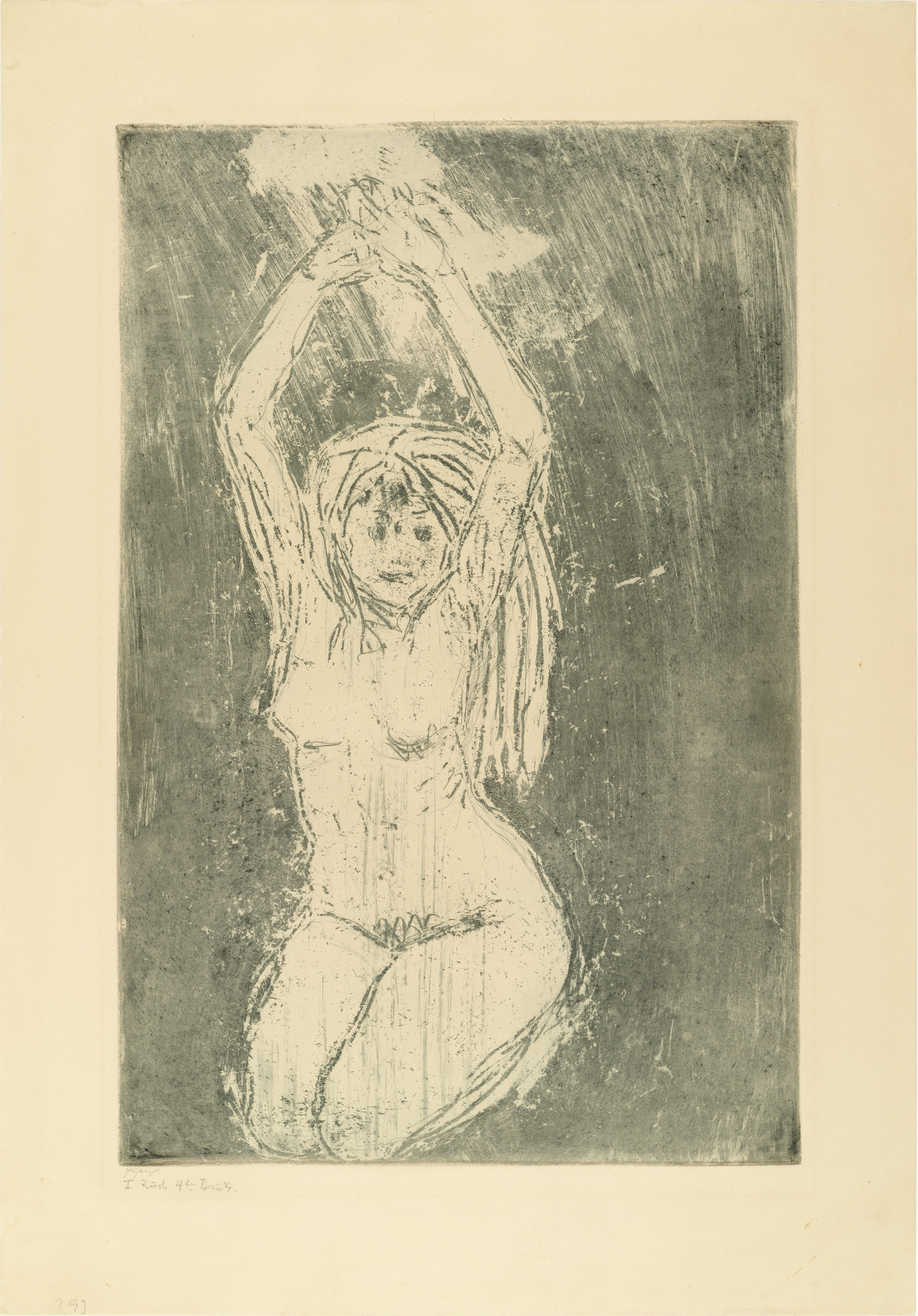 Emil Nolde. Nude with Raised Arms (Akt mit erhobenen Armen). (1908)