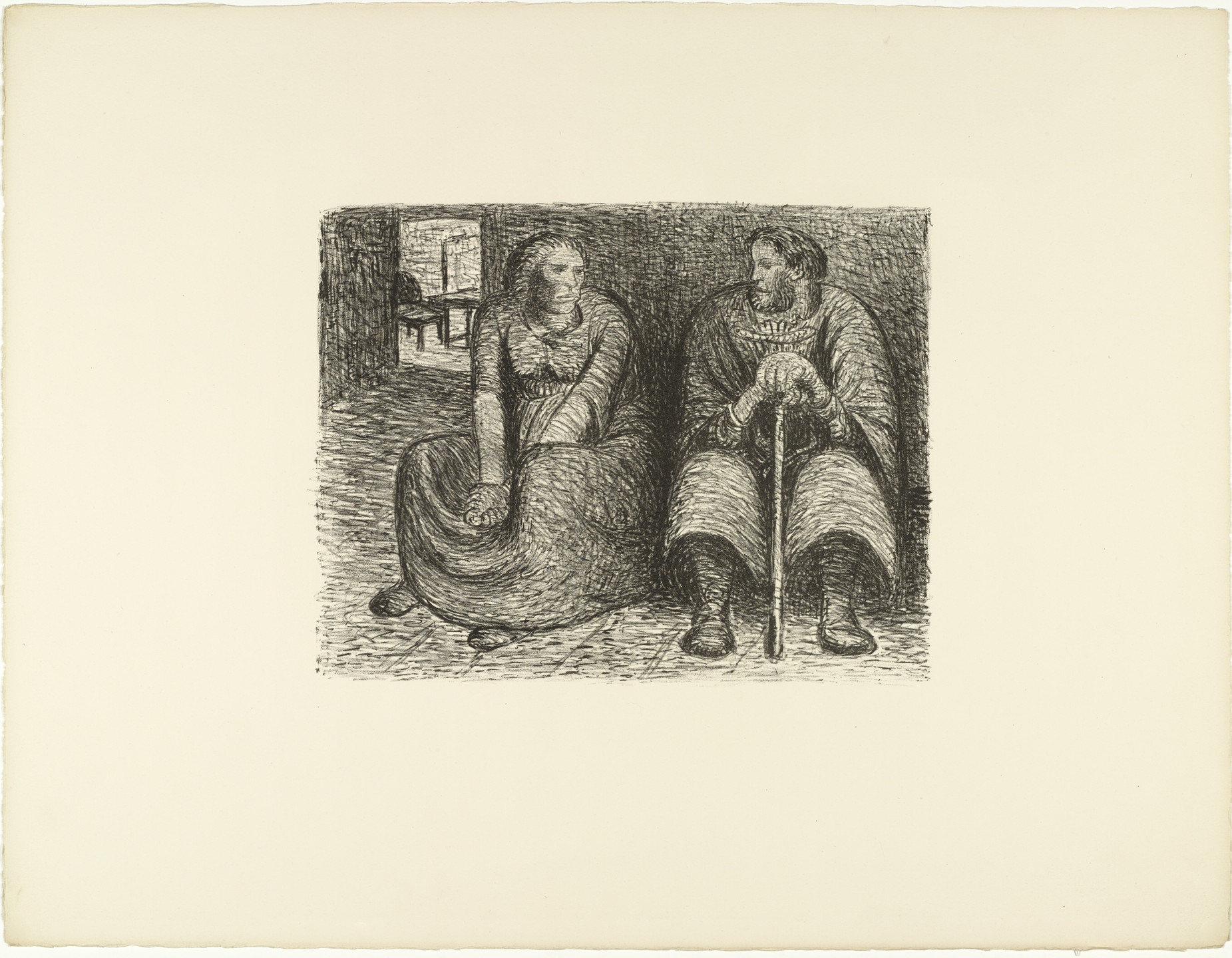 Ernst Barlach. Couple Conversing (Das Paar im Gespräch) from The Dead Day (Der tote Tag). (1910-11, published 1912)