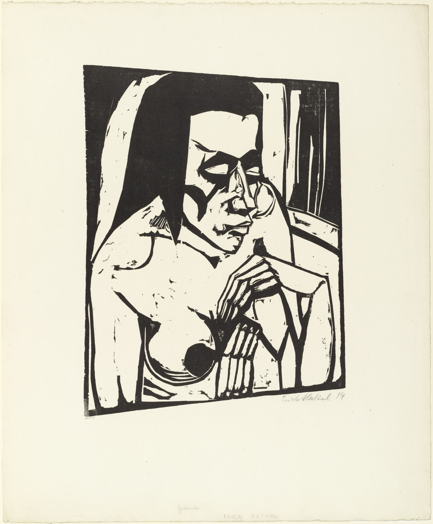 Erich Heckel. Crouching Woman (Hockende) from the portfolio Eleven Woodcuts (Elf Holzschnitte). (1913), dated 1914, (published 1921)