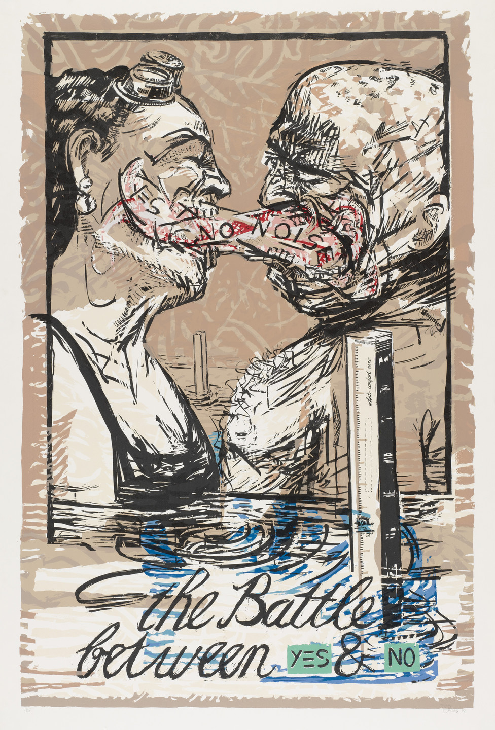 William Kentridge. The Battle Between Yes and No. 1989