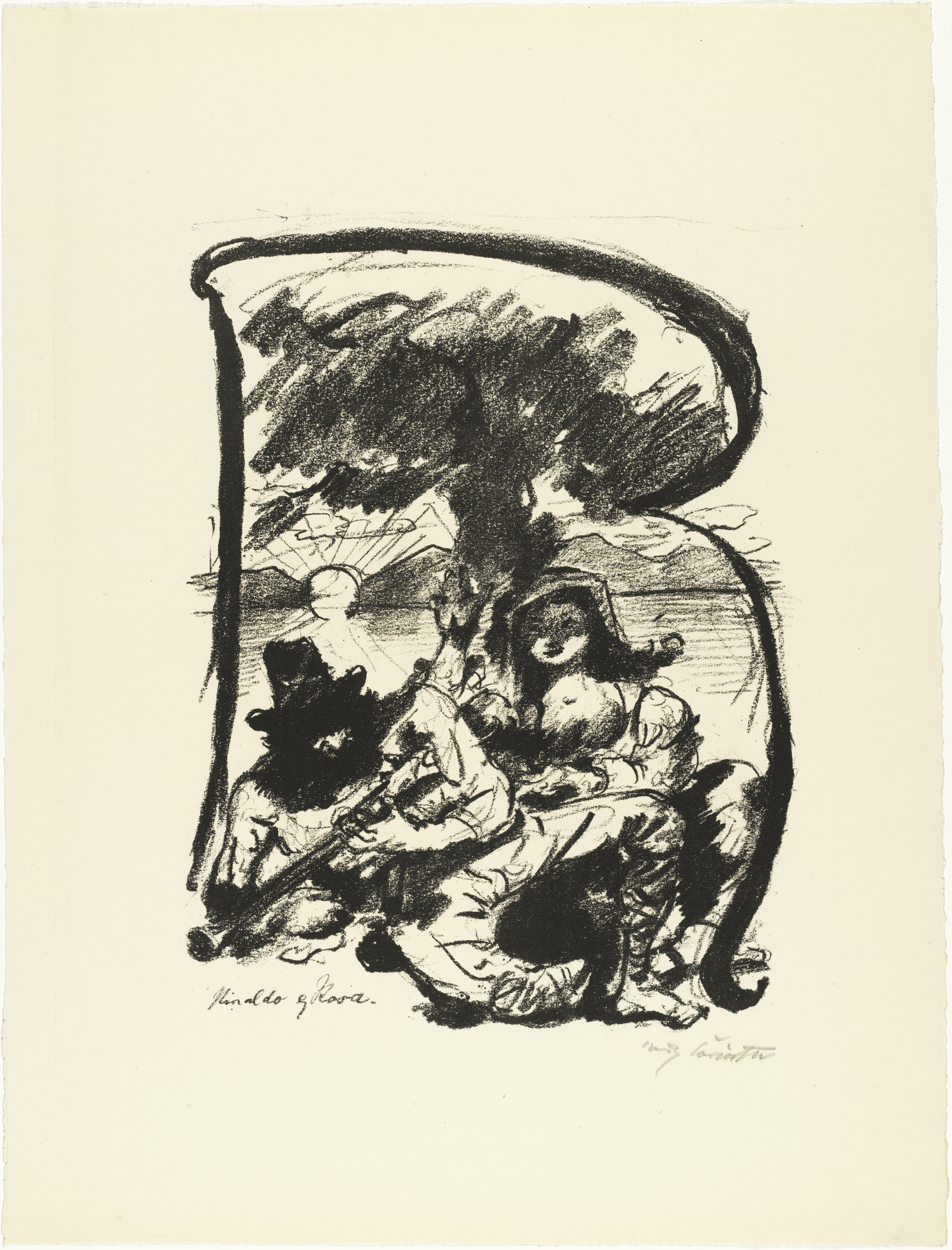 Lovis Corinth. Letter R (Buchstabe R) from the illustrated book in portfolio form The ABCs (Das ABC). (1916, published 1917)