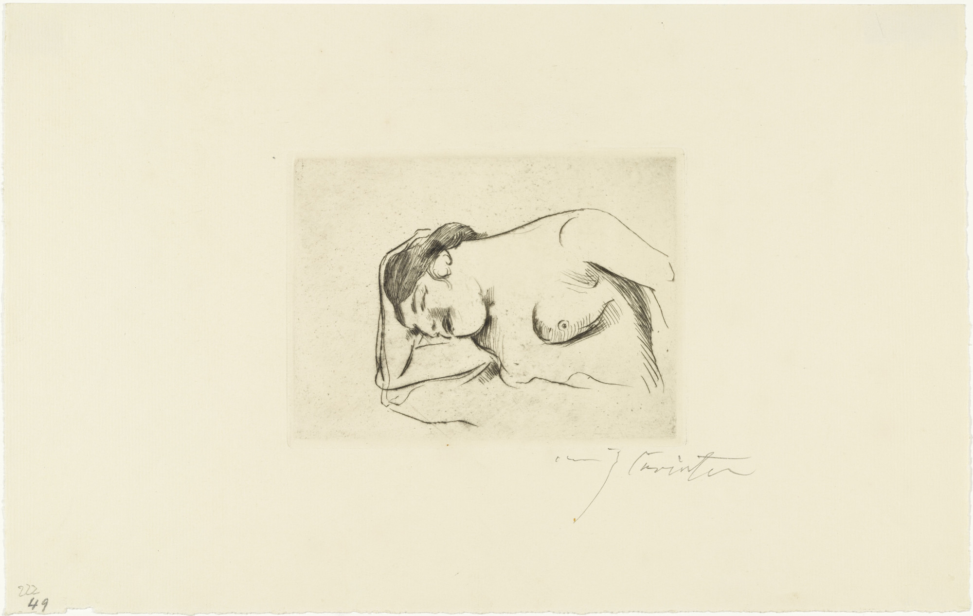 Lovis Corinth. Woman Half-Nude, Sleeping (Weiblicher halbakt, schlafend). (1910)