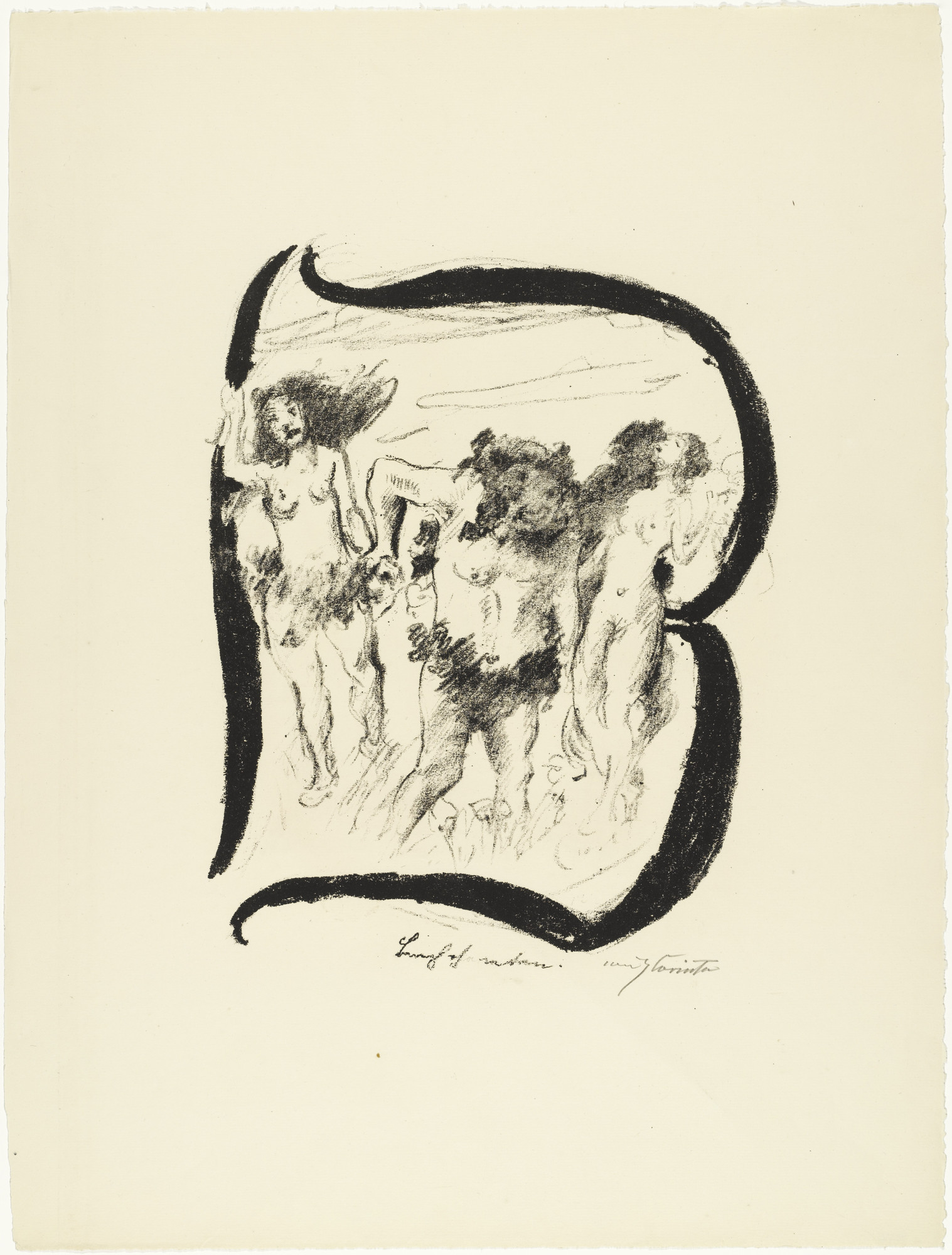 Lovis Corinth. Letter B (Buchstabe B) from the illustrated book in portfolio form The ABCs (Das ABC). (1916, published 1917)