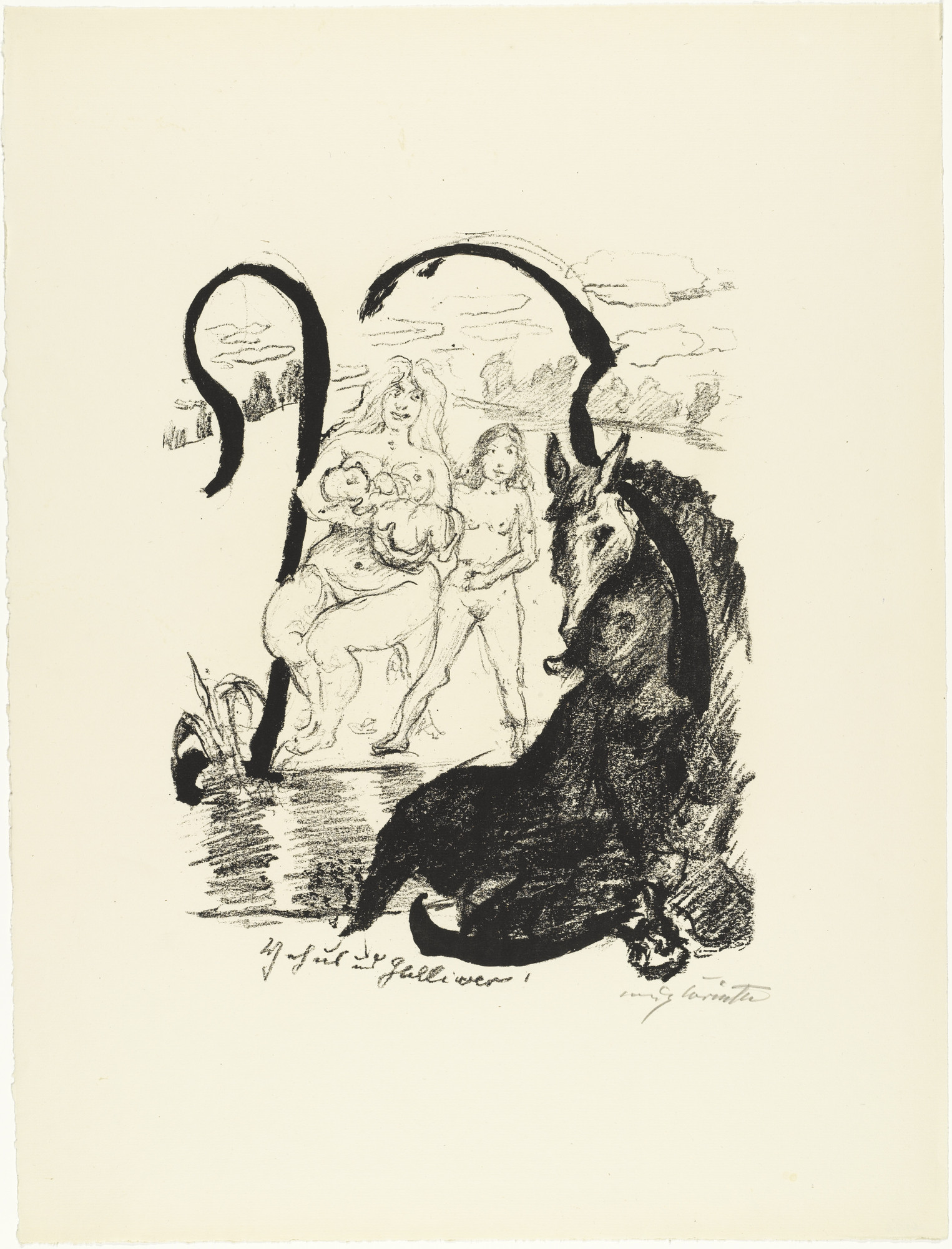Lovis Corinth. Letter Y (Buchstabe Y) from the illustrated book in portfolio form The ABCs (Das ABC). (1916, published 1917)