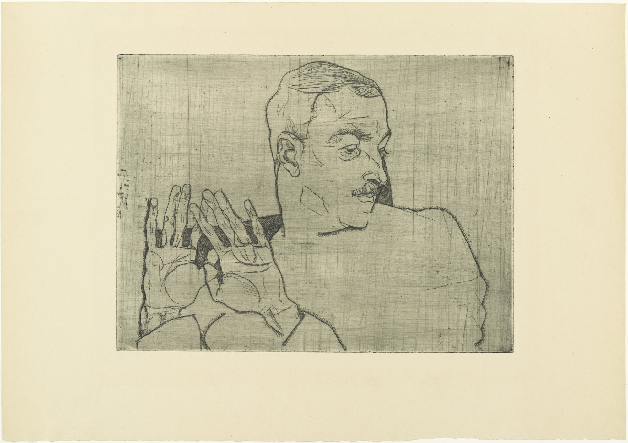 Egon Schiele. Portrait of Arthur Roessler (Bildnis Arthur Roessler) from The Graphic Work of Egon Schiele (Das Graphische Werk von Egon Schiele). (1914, published 1922)