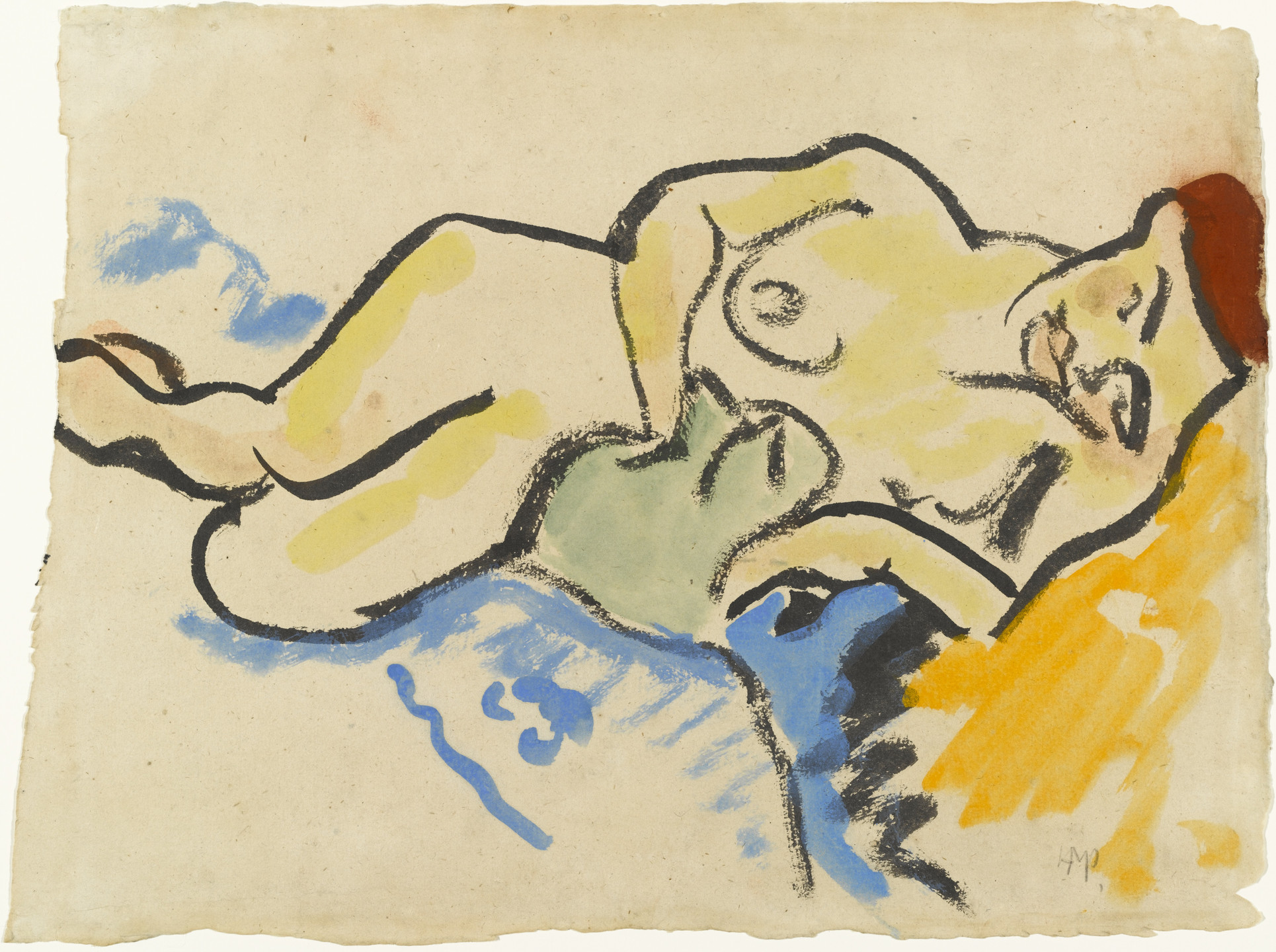 Max Pechstein. Reclining Nude with Cat. 1909