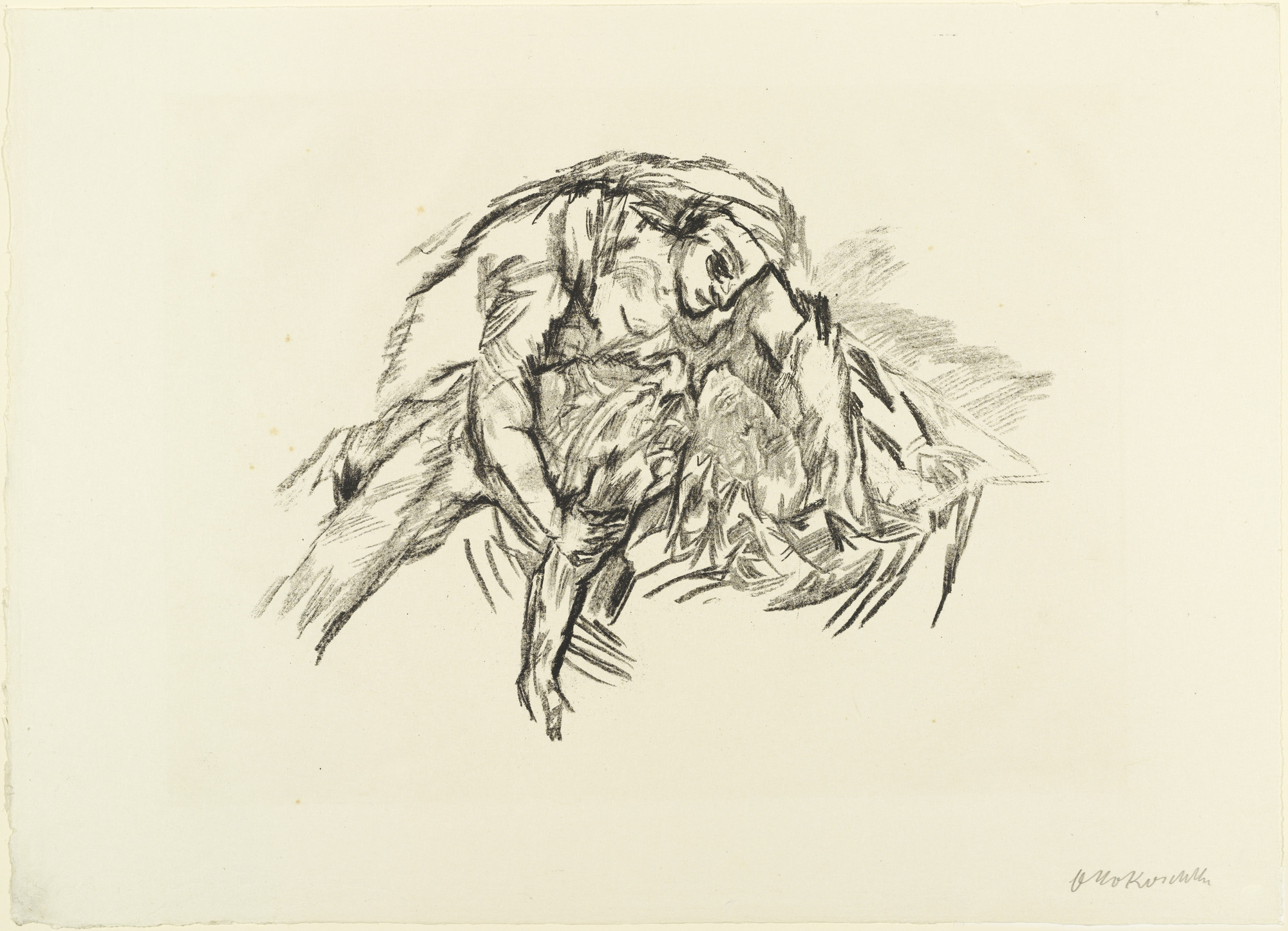Oskar Kokoschka. Woman Bent over Phantom (Weib über Schemen gebeugt) (plate 10) from The Bound Columbus (Der gefesselte Columbus). 1916 (executed 1913)
