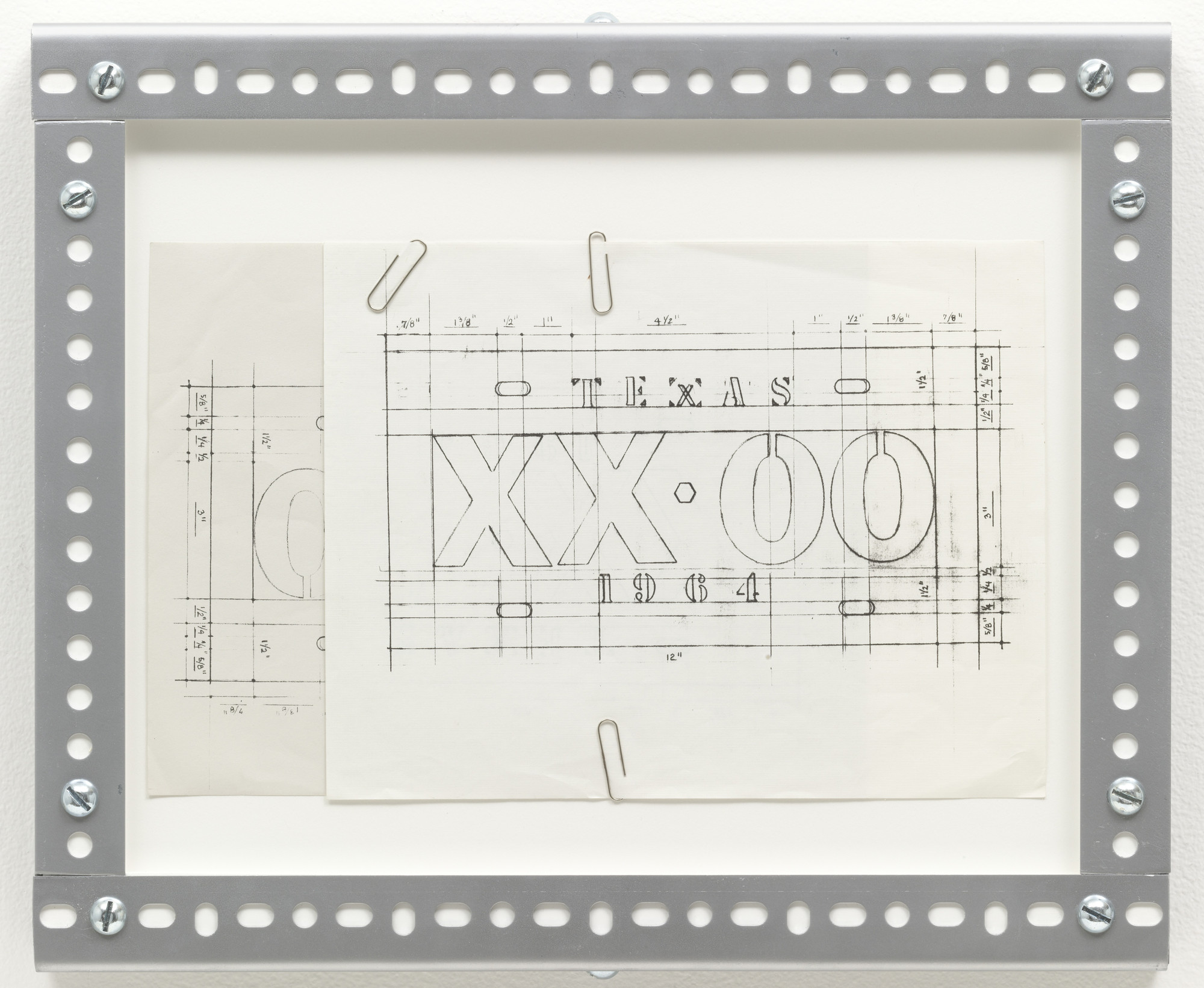 Cady Noland. Untitled (License Plate Drawing). 1988