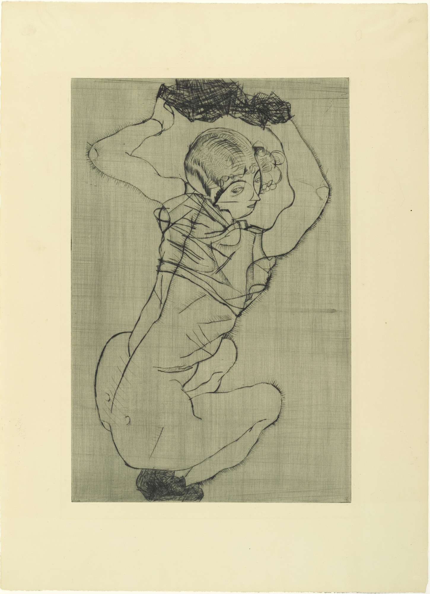 Egon Schiele. Squatting Woman (Kauernde) from The Graphic Work of Egon Schiele (Das Graphische Werk von Egon Schiele). (1914, published 1922)