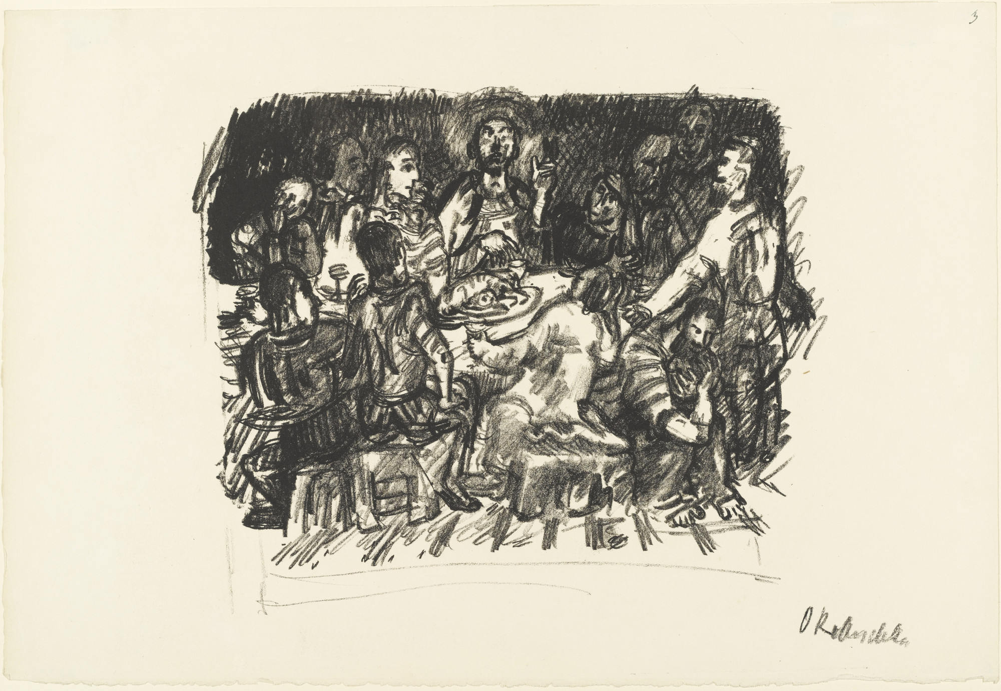 Oskar Kokoschka. The Last Supper (Das Abendmahl) from the series The Passion (Die Passion). (1916)
