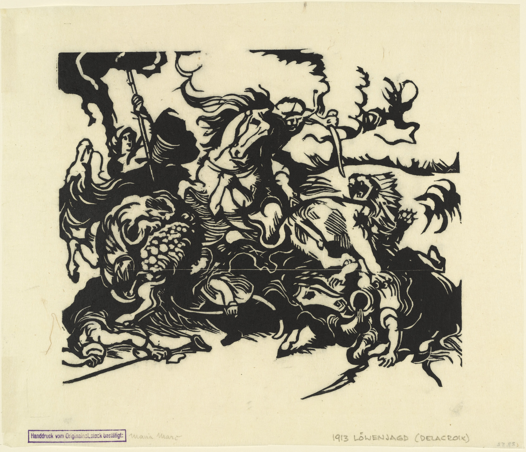 Franz Marc. Lion Hunt After Delacroix (Löwenjagd nach Delacroix). (1913)