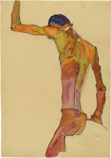 Egon Schiele. Standing Male Nude with Arm Raised, Back View. 1910