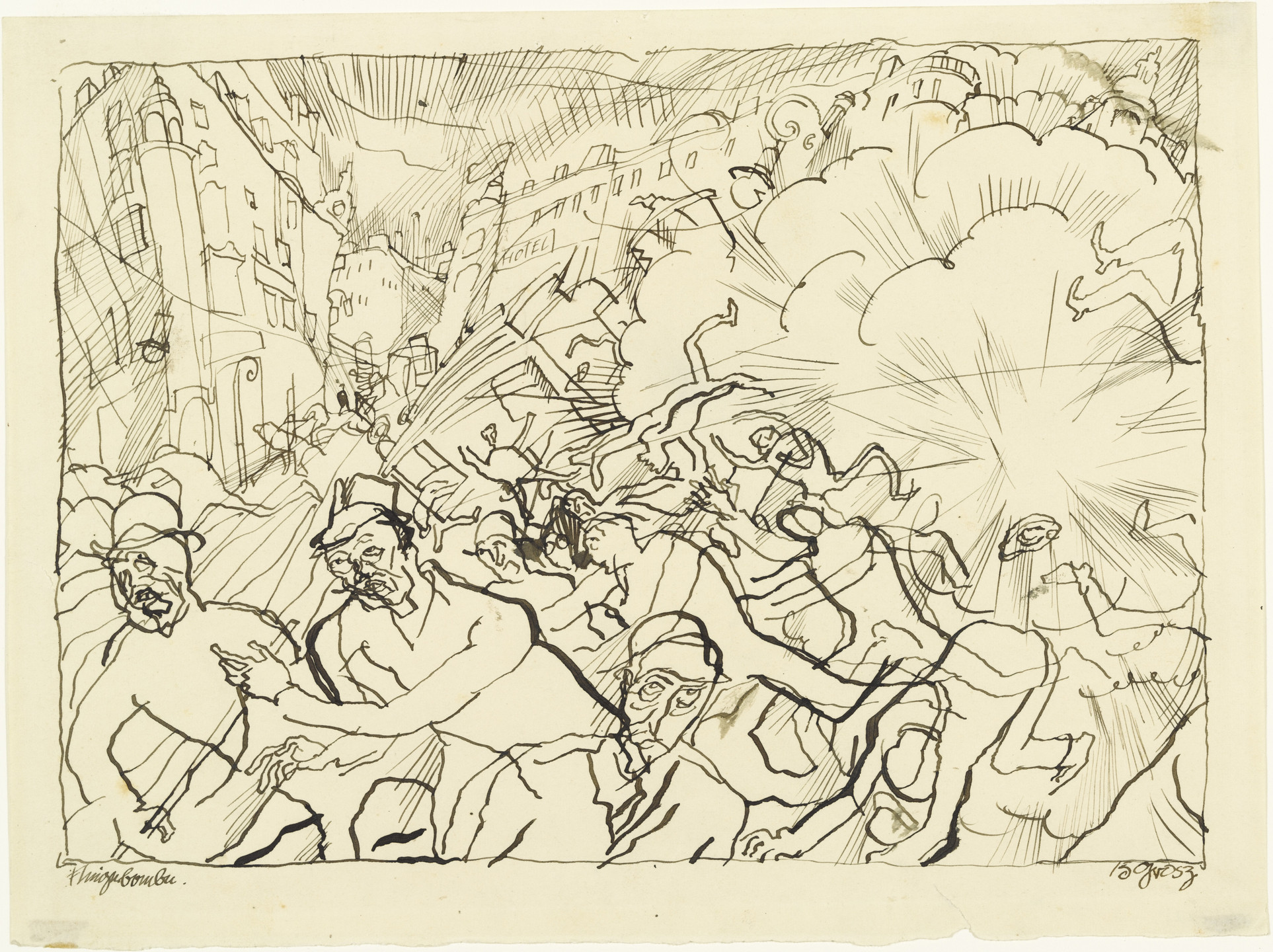 George Grosz. Air Attack (Fliegerbombe). 1915