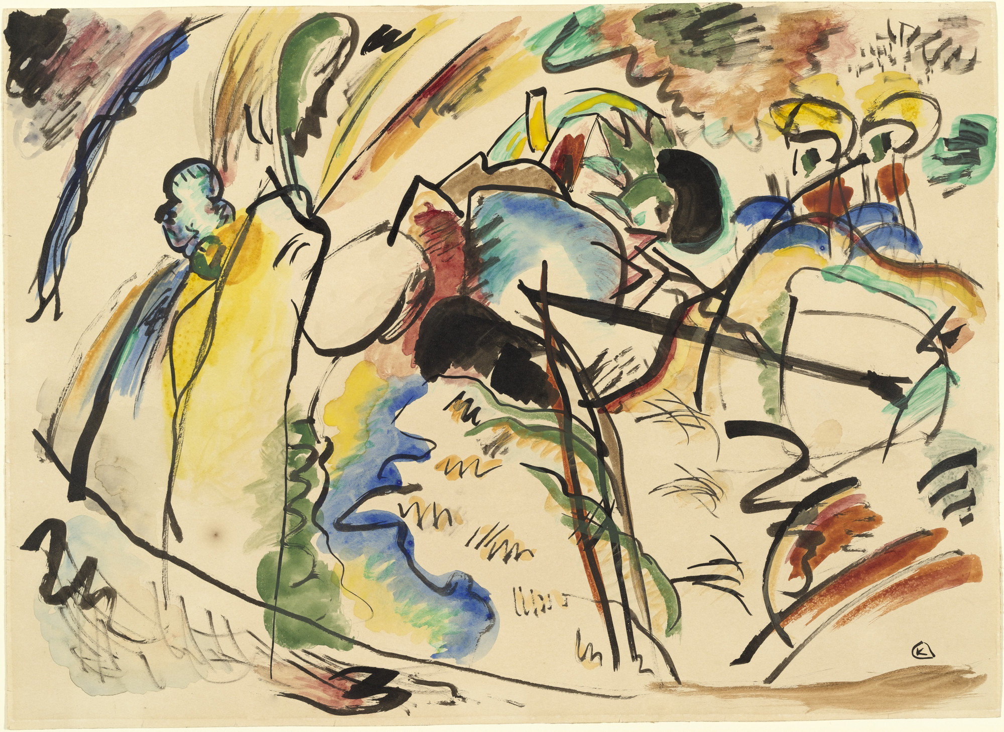 Vasily Kandinsky. Study for Painting with White Form (Entwurf zu Bild mit weisser Form). 1913