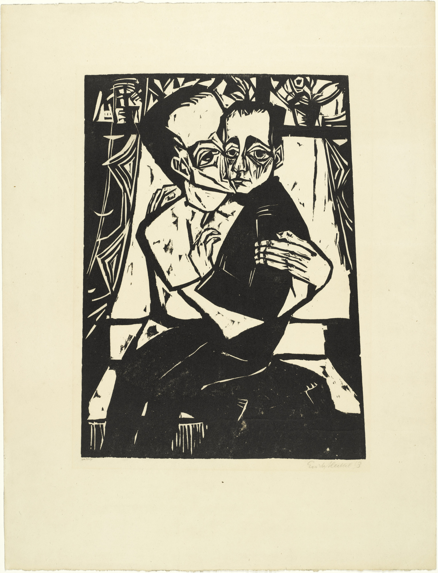 Erich Heckel. Siblings (Geschwister) from the portfolio Eleven Woodcuts, 1912-1919 (Elf Holzschnitte, 1912-1919). 1913 (published 1921)