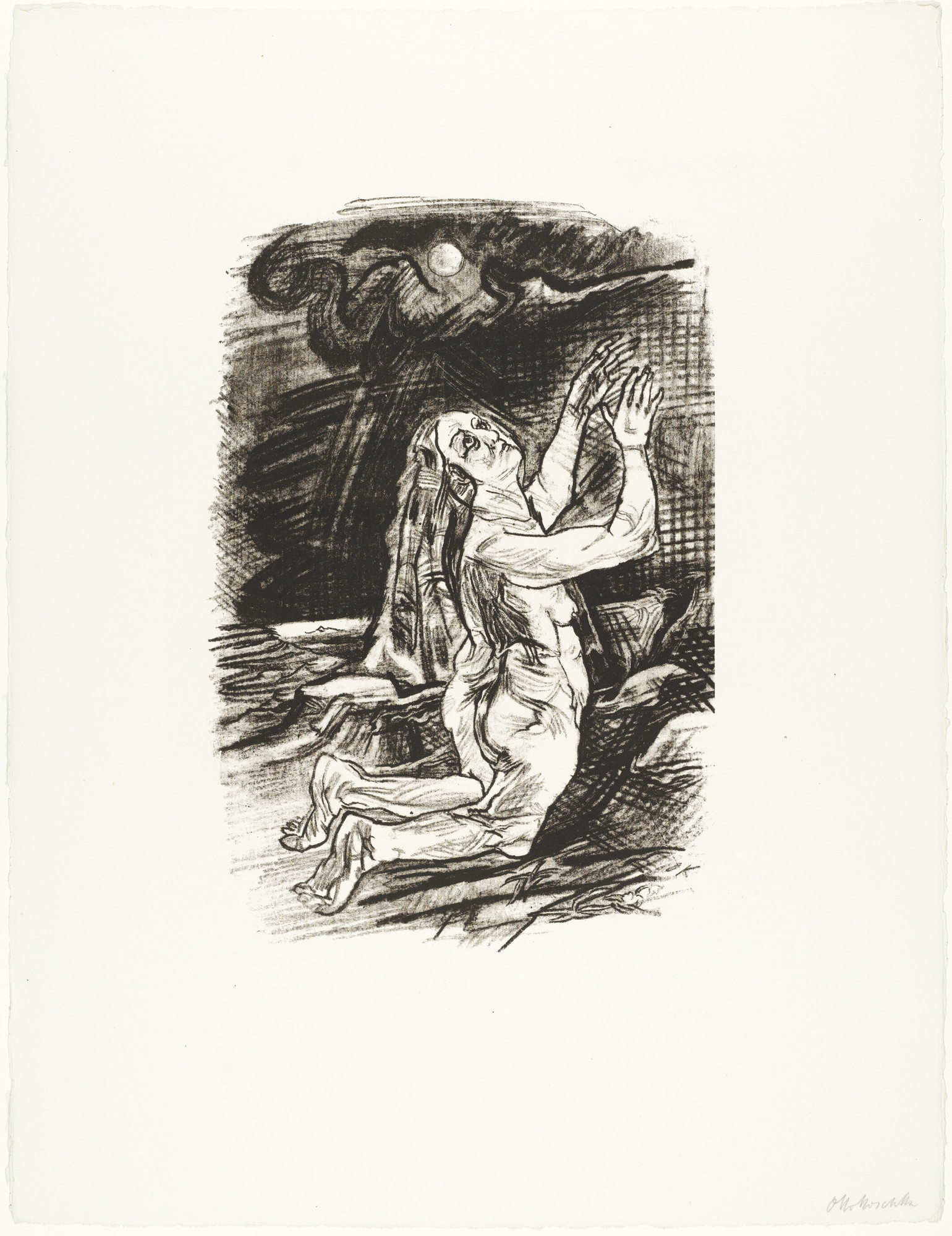 Oskar Kokoschka. The Supplicant (Die Flehende) (plate 5) from O Eternity - Thou Word of Thunder (Bach Cantata) [O Ewigkeit - Du Donnerwort (Bachkantate)]. (1914, published 1916)