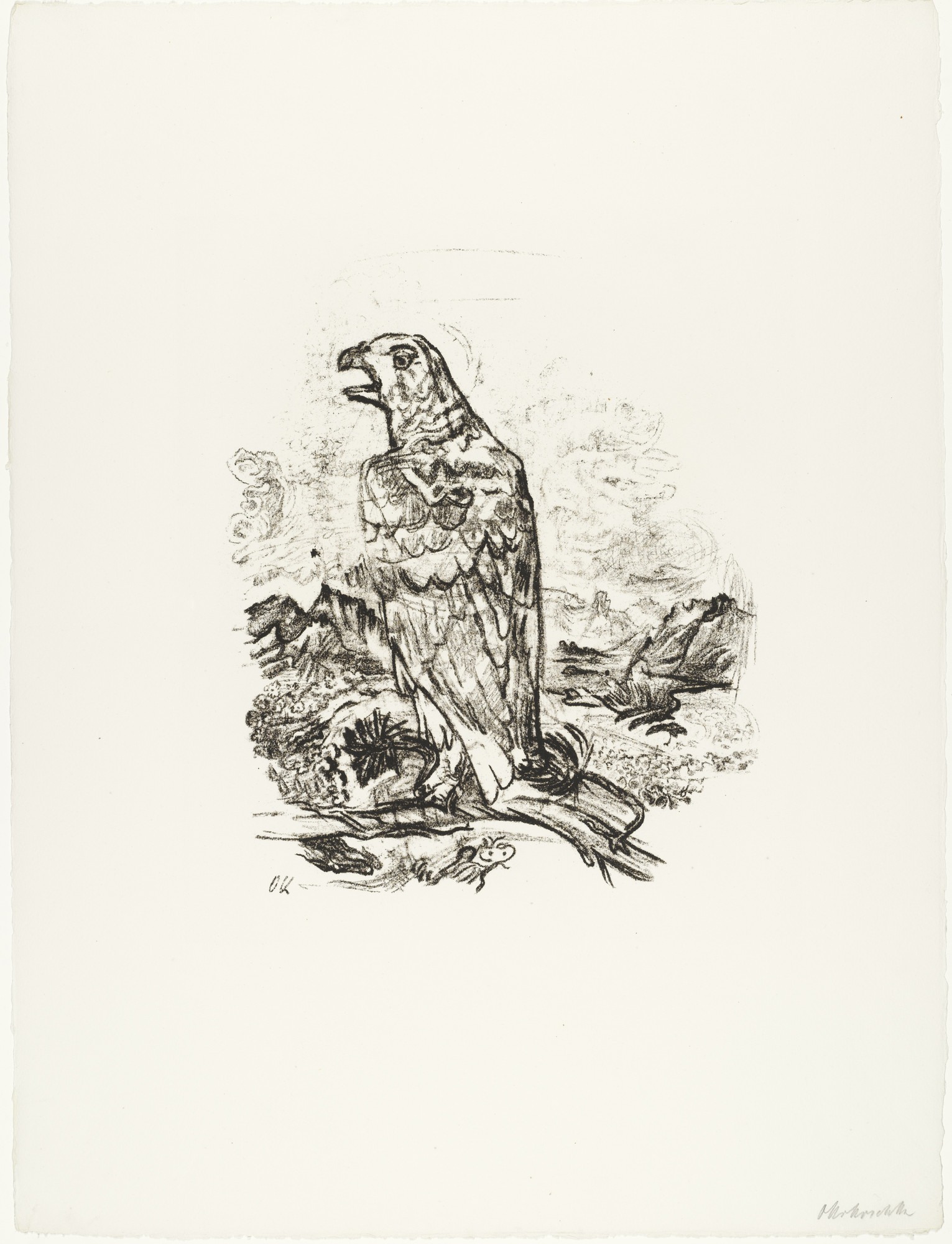 "Oskar Kokoschka. The Eagle (""Blessed are the Dead"") [Der Adler (""Selig sind die Toten)] (plate 9) from O Eternity - Thou Word of Thunder (Bach Cantata) [O Ewigkeit - Du Donnerwort (Bachkantate)]. (1914, published 1916)"