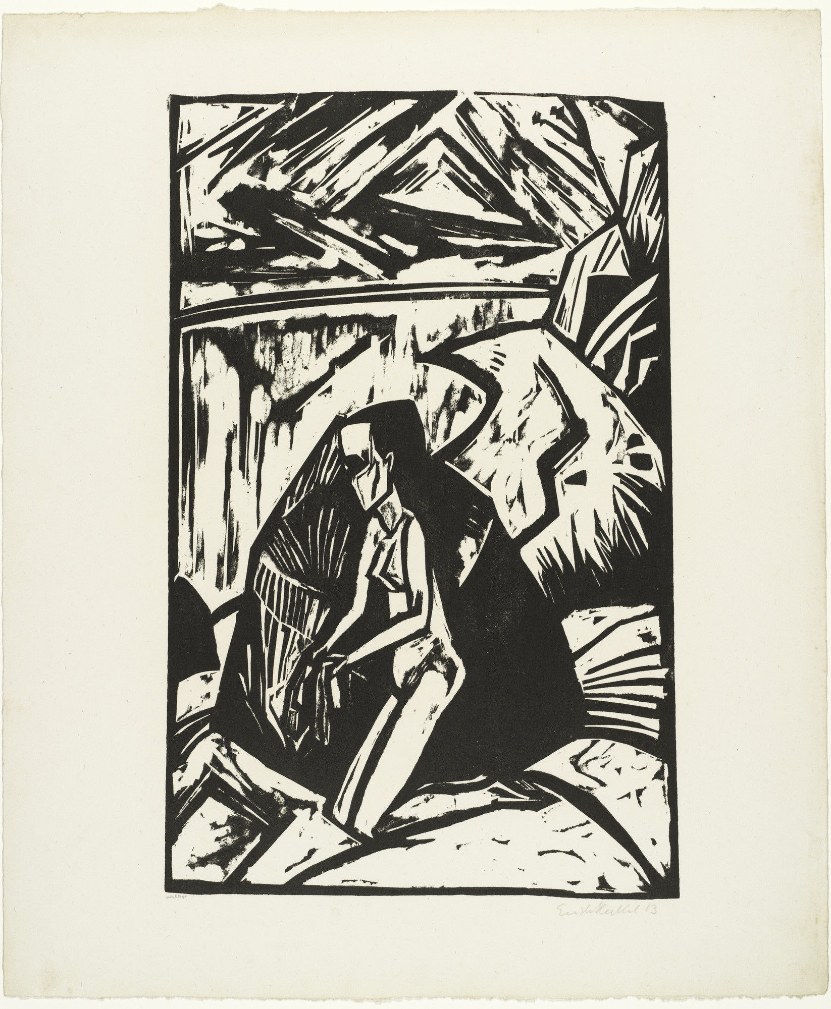 Erich Heckel. Woman Kneeling Near a Rock (Kniende am Stein) from the portfolio Eleven Woodcuts, 1912-1919 (Elf Holzschnitte, 1912-1919). 1913 (published 1921)