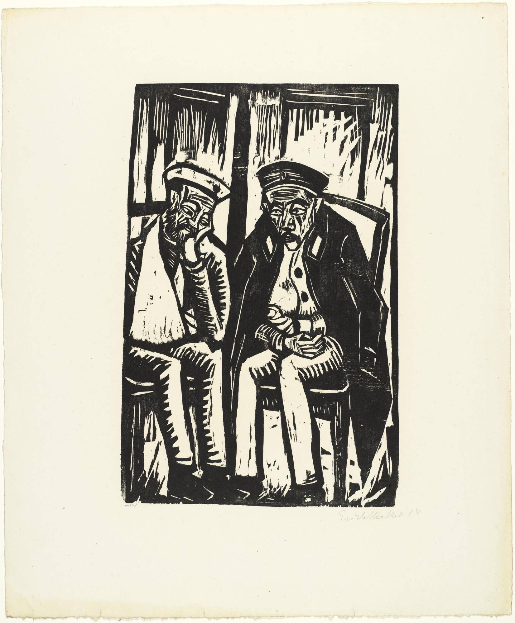 Erich Heckel. Two Wounded Soldiers (Zwei Verwundete) from the portfolio Eleven Woodcuts, 1912-1919 (Elf Holzschnitte, 1912-1919). 1914 (published 1921)