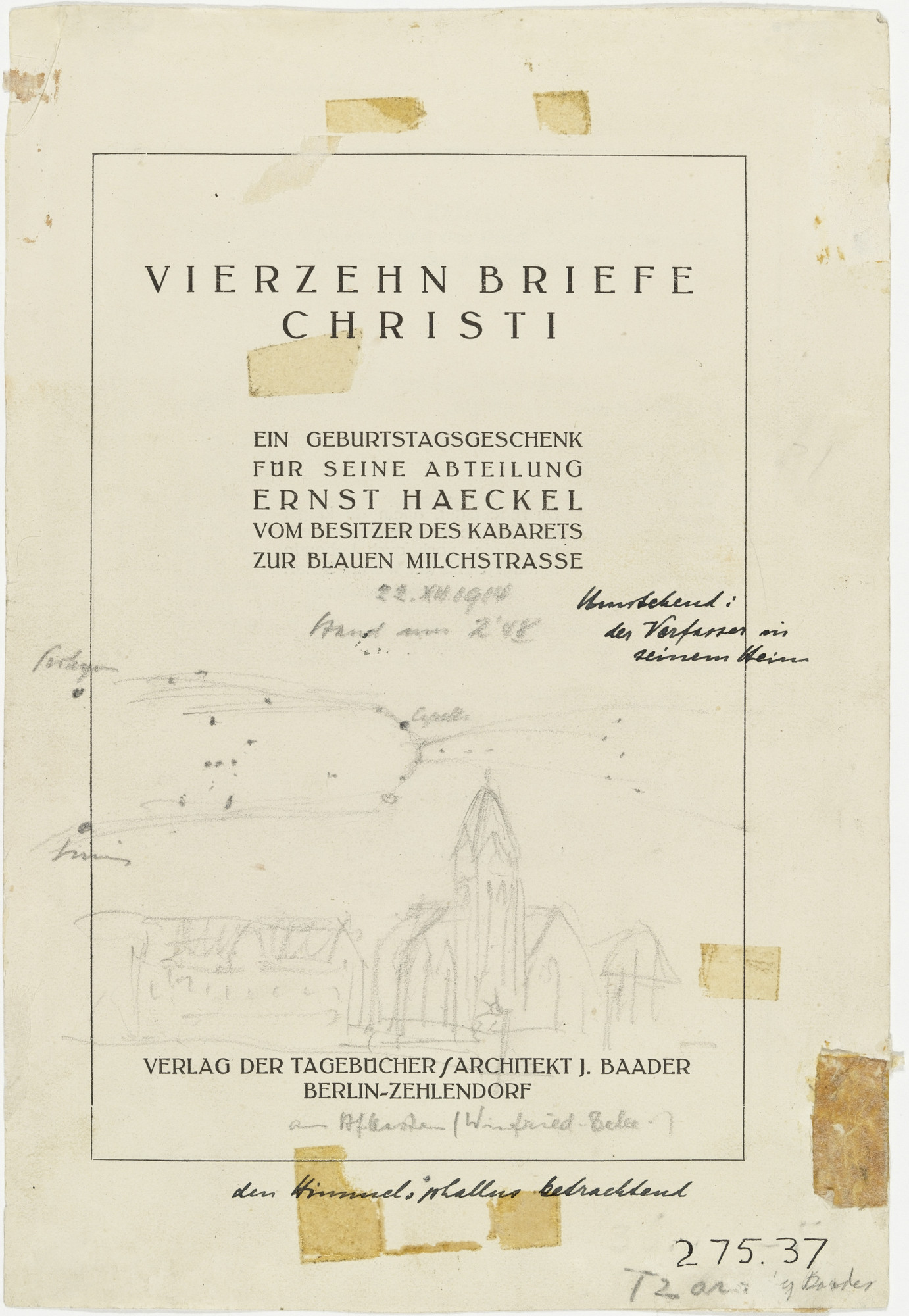Johannes Baader. The Author of the Book Fourteen Letters of Christ in His Home (Der Verfasser das Buches Vierzehn Briefe Christi in seinem Heim). 1920