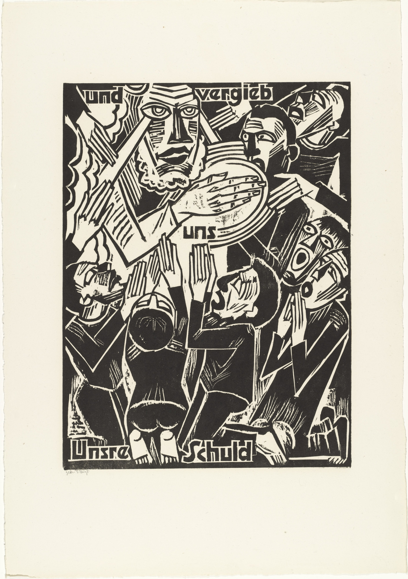 Max Pechstein. And forgive / us / our debts (und vergieb / uns / Unsre Schuld) from The Lord's Prayer (Das Vater Unser). 1921
