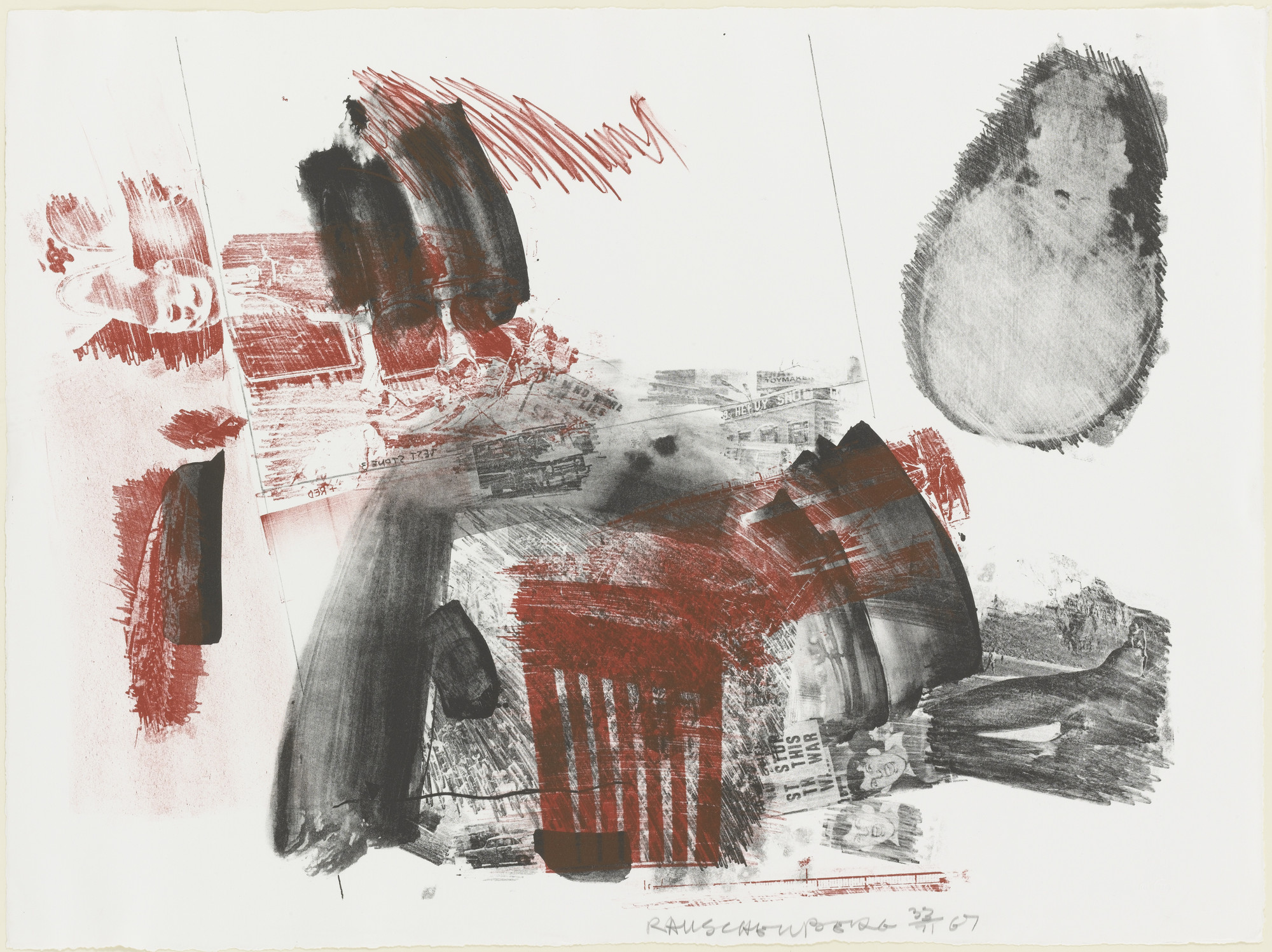 Robert Rauschenberg. Test Stone #3 (Red with Dante Man) from Booster and 7 Studies. 1967