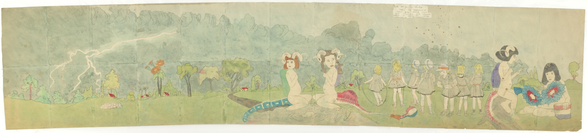 Henry Darger. 116. At Jennie Richee. Notice by approach of blue gray black cloud that hurricane like thunder storm is going to renew., 117. At Jennie Richee. To avoid being out in the open when storm renews, they take chance going through farm possessed by Glandelin. c. 1960s