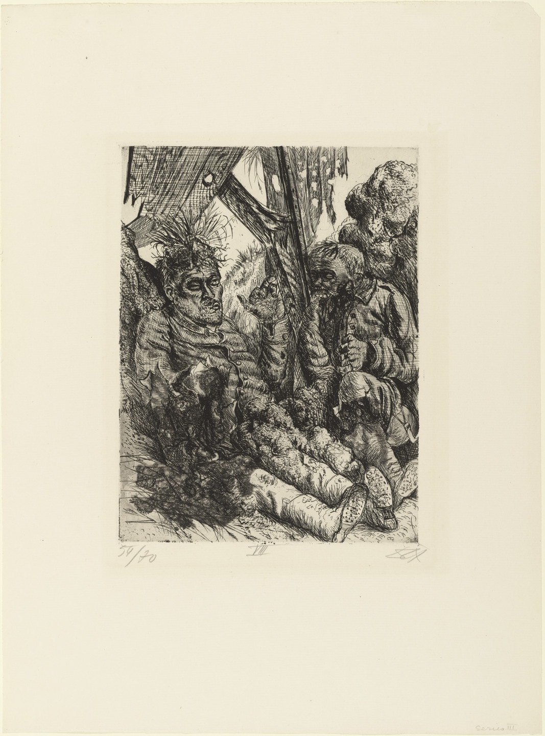 Otto Dix. _Seen on the Escarpment at Cléry-sur-Somme (Gesehen am Steilhang von Cléry-sur-Somme) _ from The War (Der Krieg). (1924)