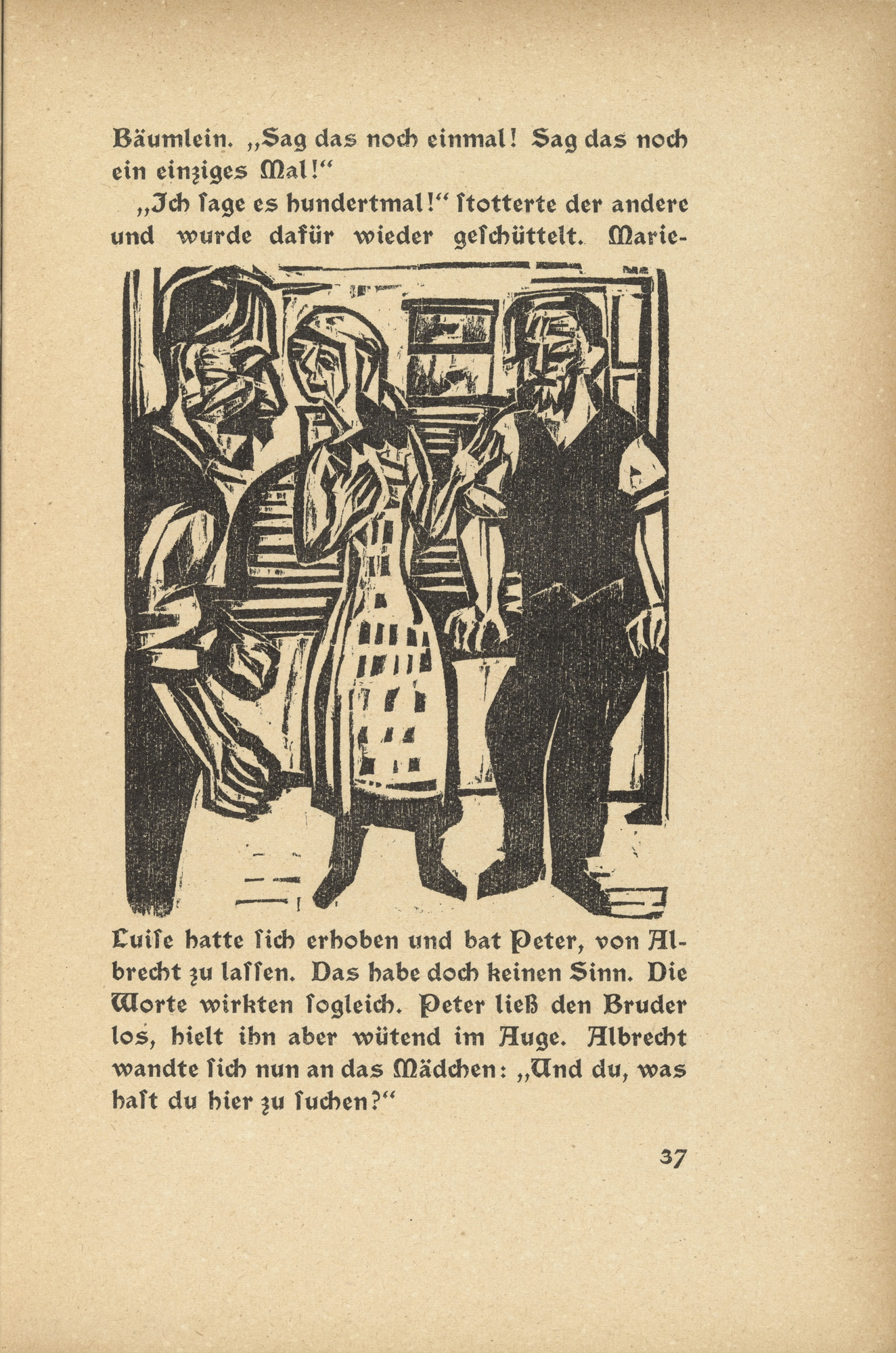 Ernst Ludwig Kirchner. Briggel: Albrecht, Peter and Marie Luise (Der Briggel: Albrecht, Peter und Marie Luise) (in-text plate, page 37) from Neben der Heerstrasse (Off the Main Road). 1923