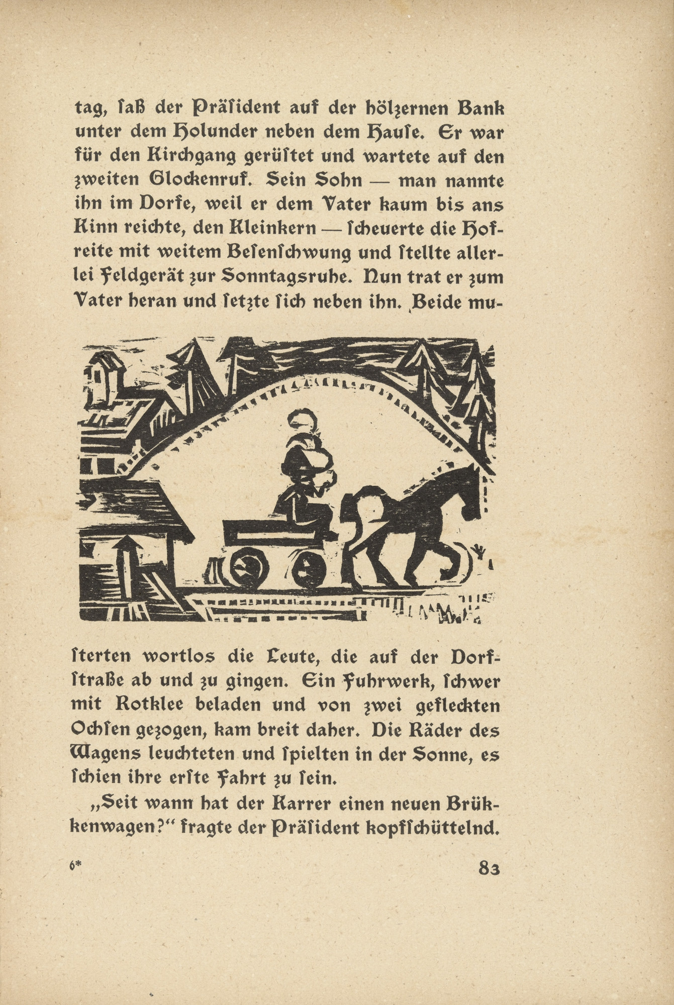 Ernst Ludwig Kirchner. Downfall: The Horse Cart (Niedergang: Pferdefuhrwerk) (in-text plate, page 83) from Neben der Heerstrasse (Off the Main Road). 1923