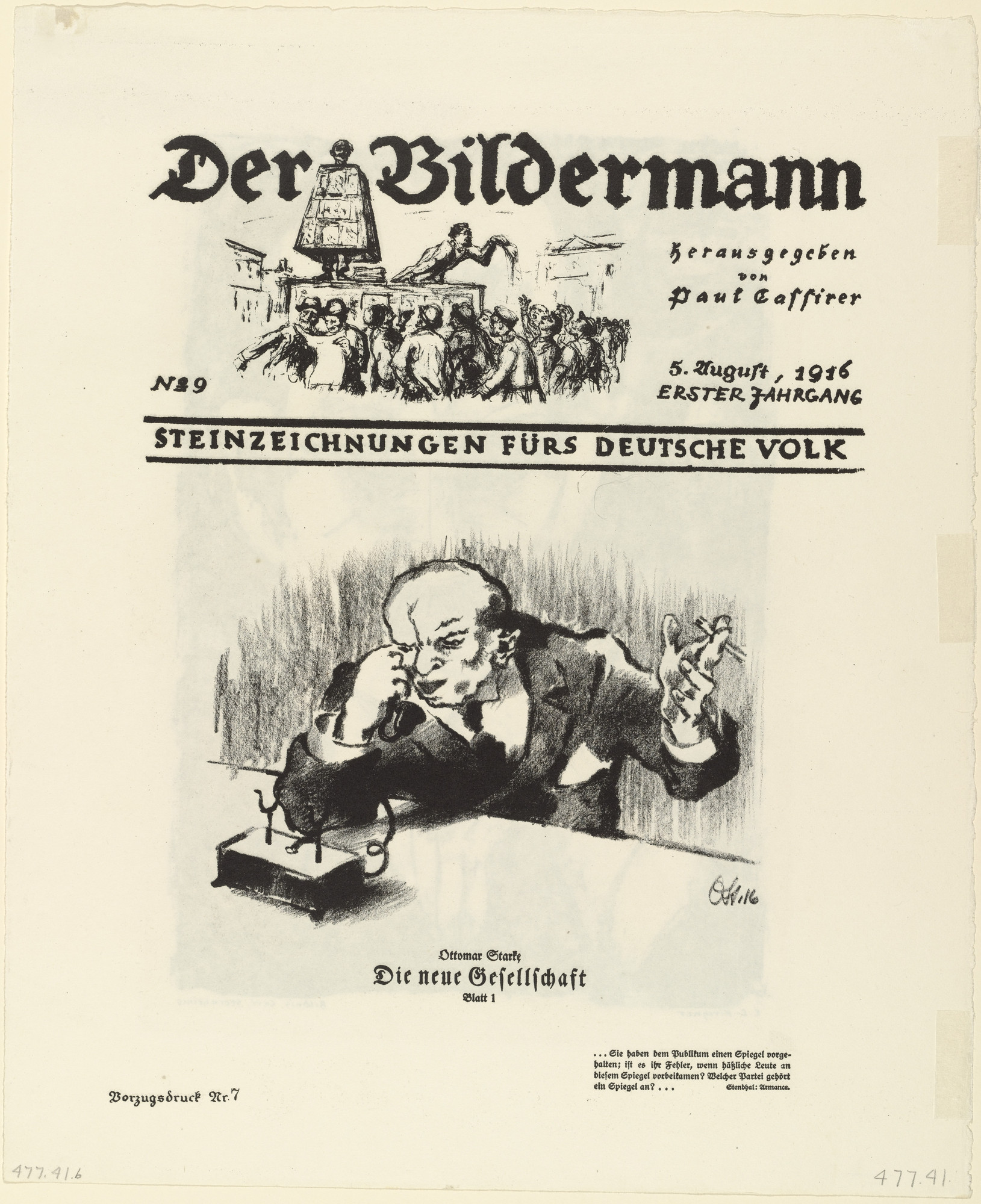 Ernst Ludwig Kirchner, Ottomar Starke. Portrait of Carl Sternheim (Bildnis Carl Sternheims) from the periodical Der Bildermann, No. 9 (recto); The New Society: Plate 1 (Die neue Gesellschaft: Blatt 1) from the periodical Der Bildermann, No. 9 (verso). 1916
