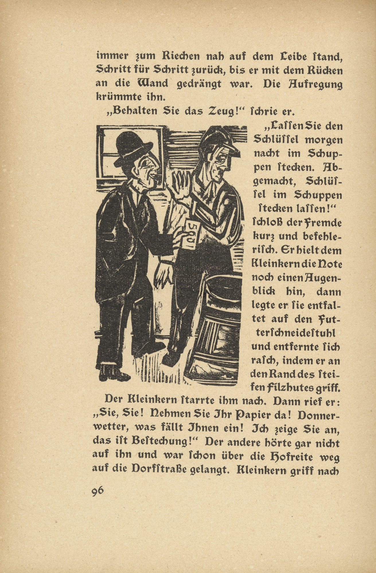Ernst Ludwig Kirchner. Downfall: Kleinkern and the Stranger (Niedergang: Kleinkern und der Fremde) (in-text plate, page 96) from Neben der Heerstrasse (Off the Main Road). 1923