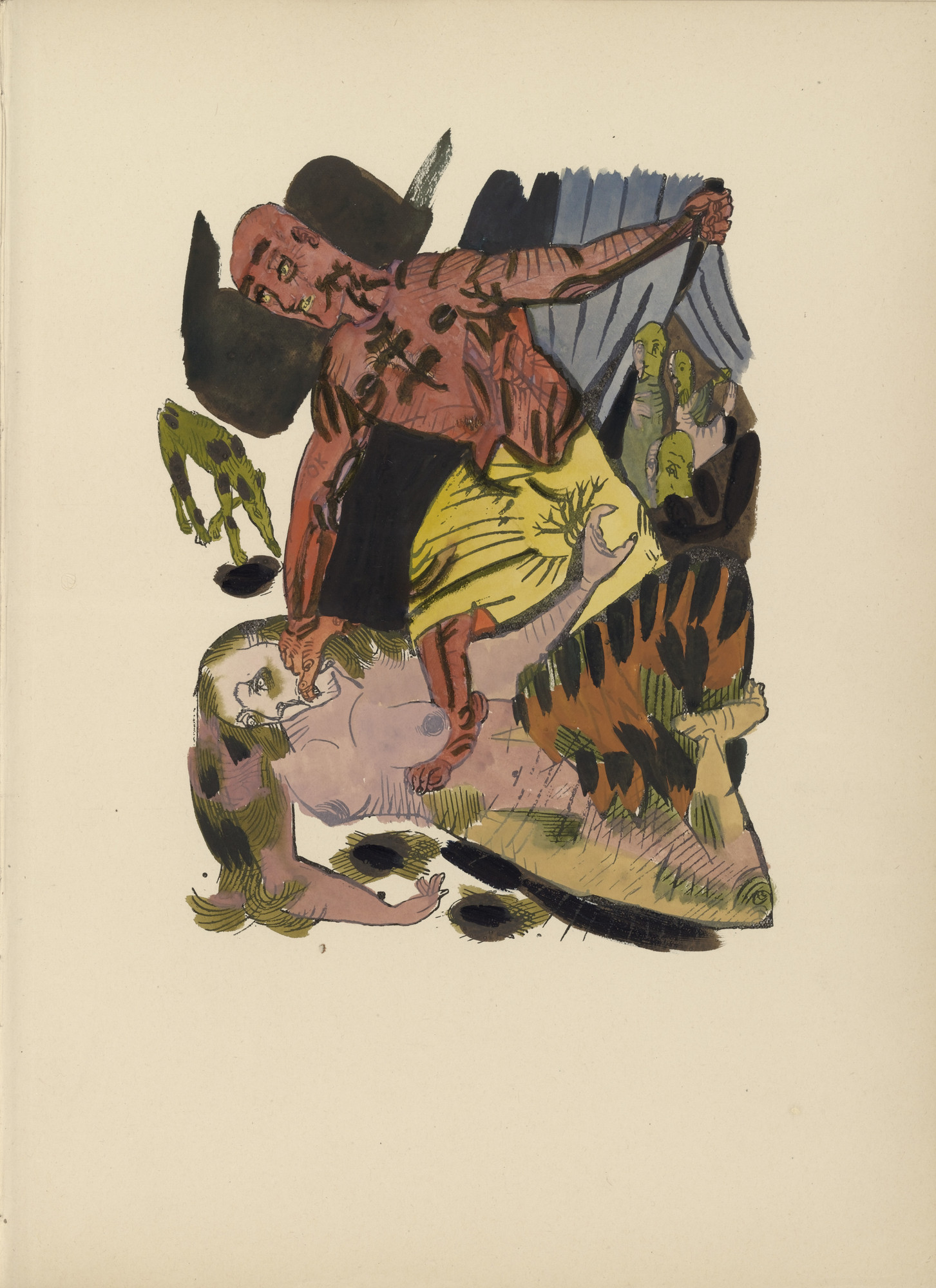 Oskar Kokoschka. Plate (folio 8) from Mörder, Hoffnung der Frauen (Murderer, Hope of Women). (1916)