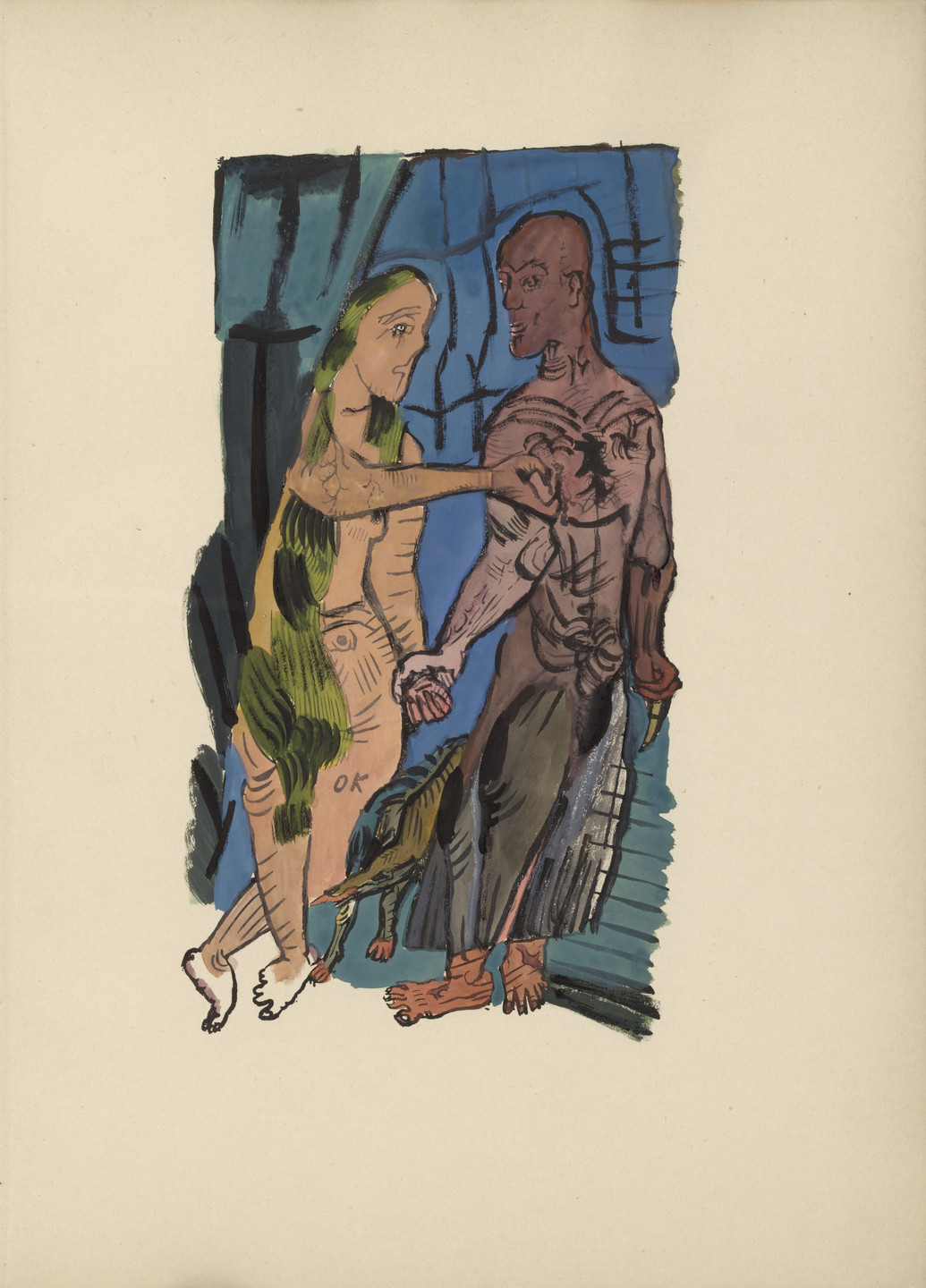 Oskar Kokoschka. Plate (folio 4) from Mörder, Hoffnung der Frauen (Murderer, Hope of Women). 1916 (original executed in 1910)