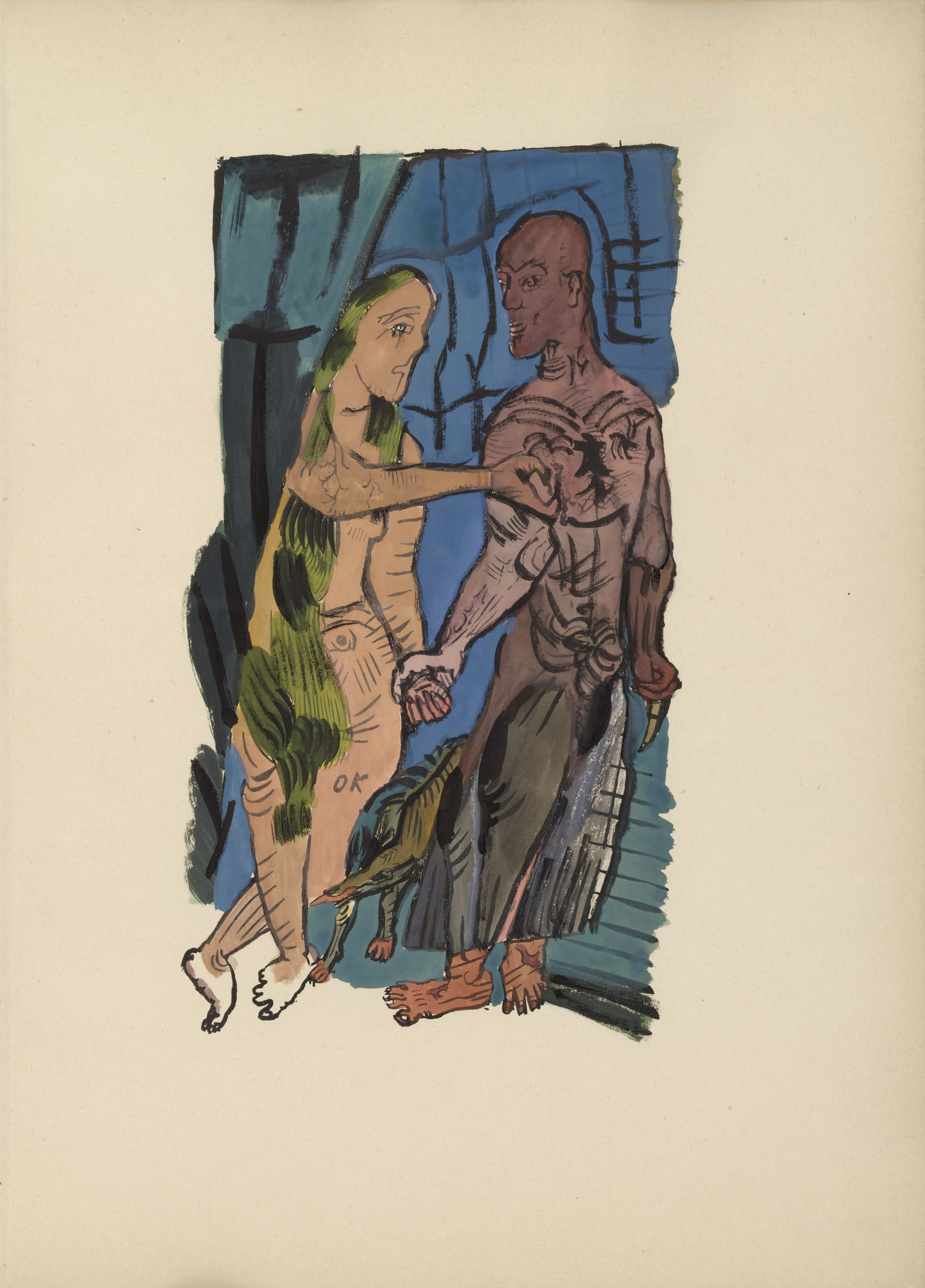 Oskar Kokoschka. Mörder, Hoffnung der Frauen (Murderer, Hope of Women). (1916, drawings executed 1910)