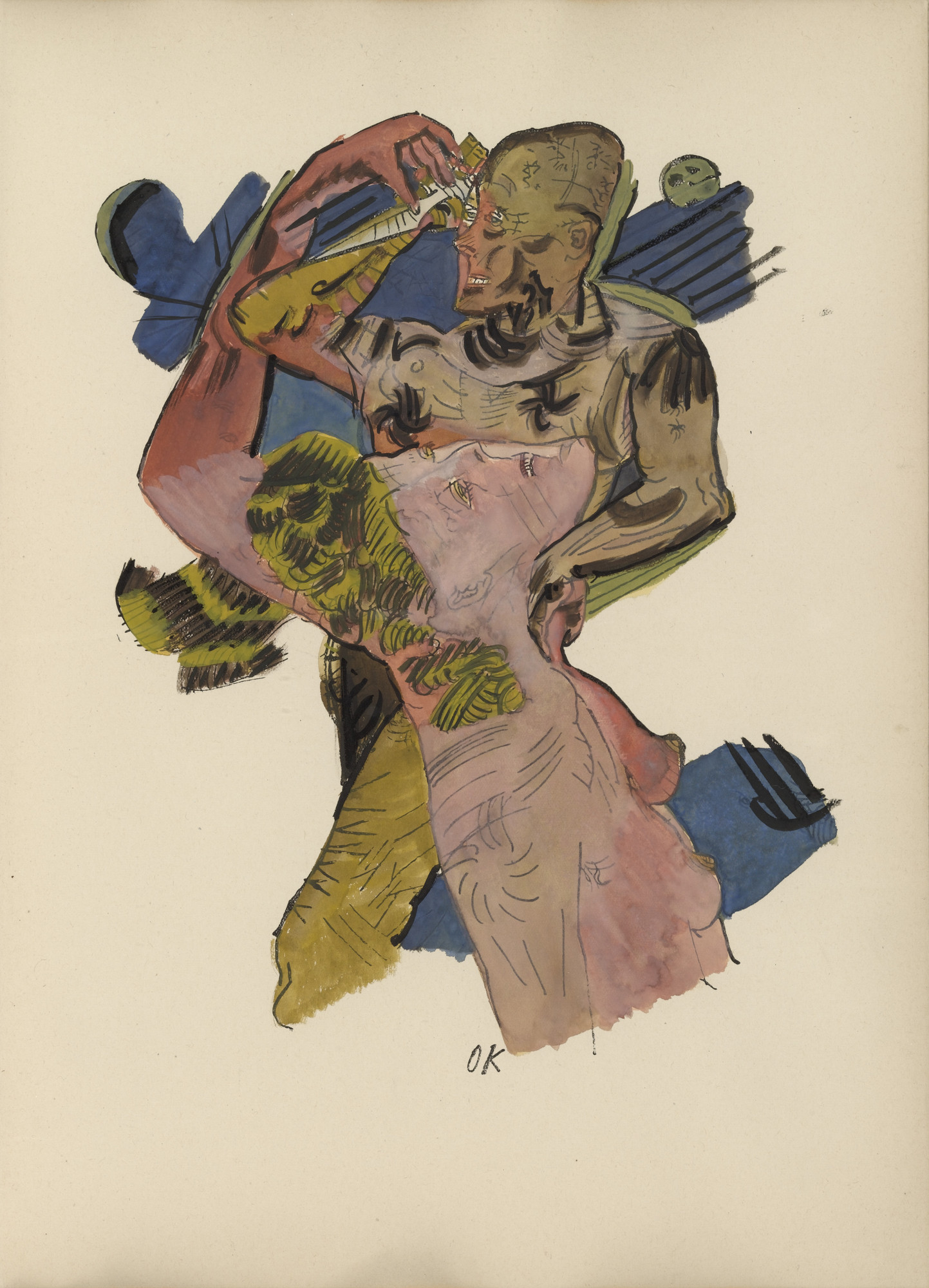 Oskar Kokoschka. Plate (folio 10) from Mörder, Hoffnung der Frauen (Murderer, Hope of Women). (1916)