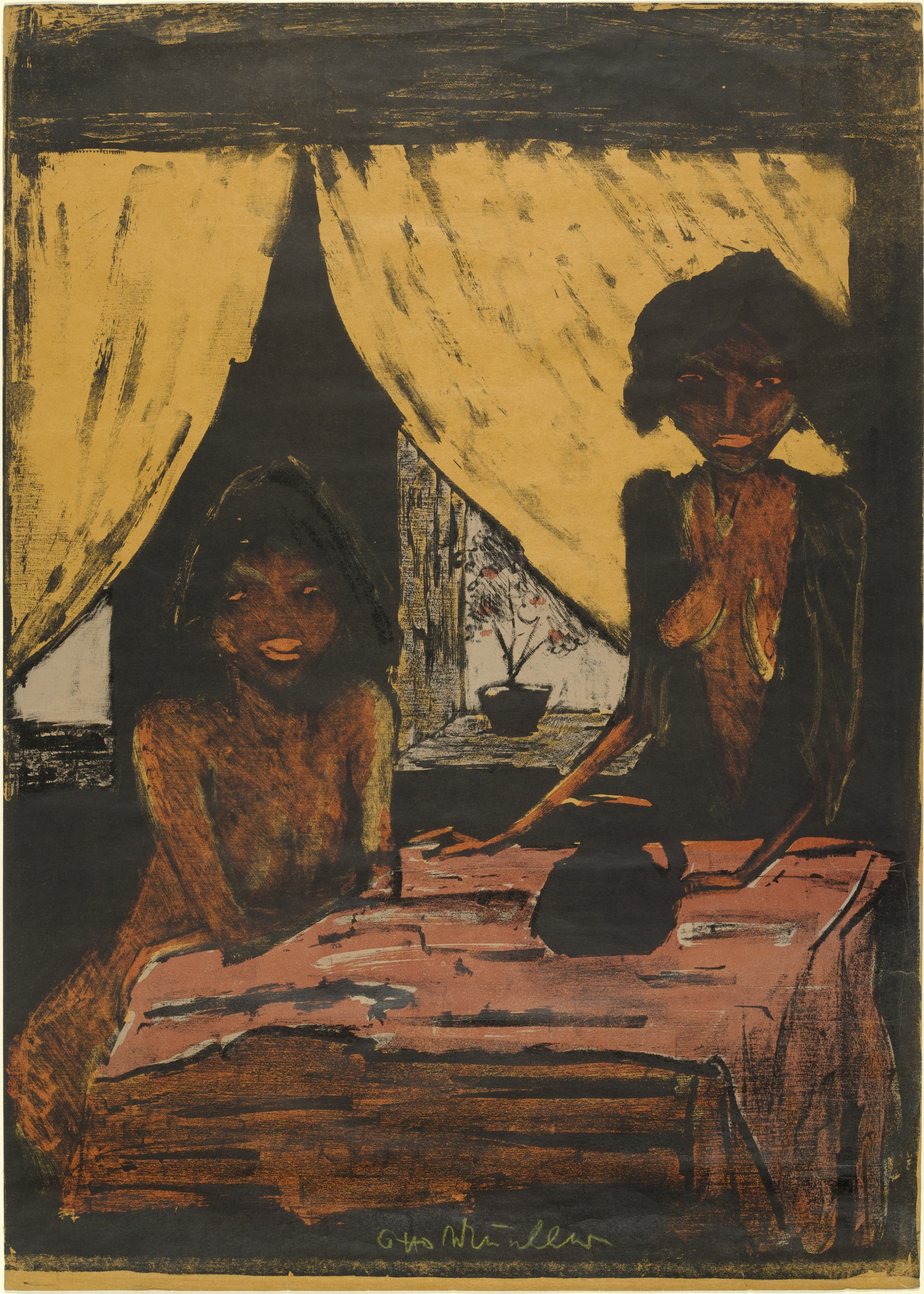 Otto Mueller. Two Gypsy Girls in Living Room (Zwei Zigeunermädchen im Wohnraum) from the portfolio Gypsies (Zigeuner). (1926-27, published 1927)