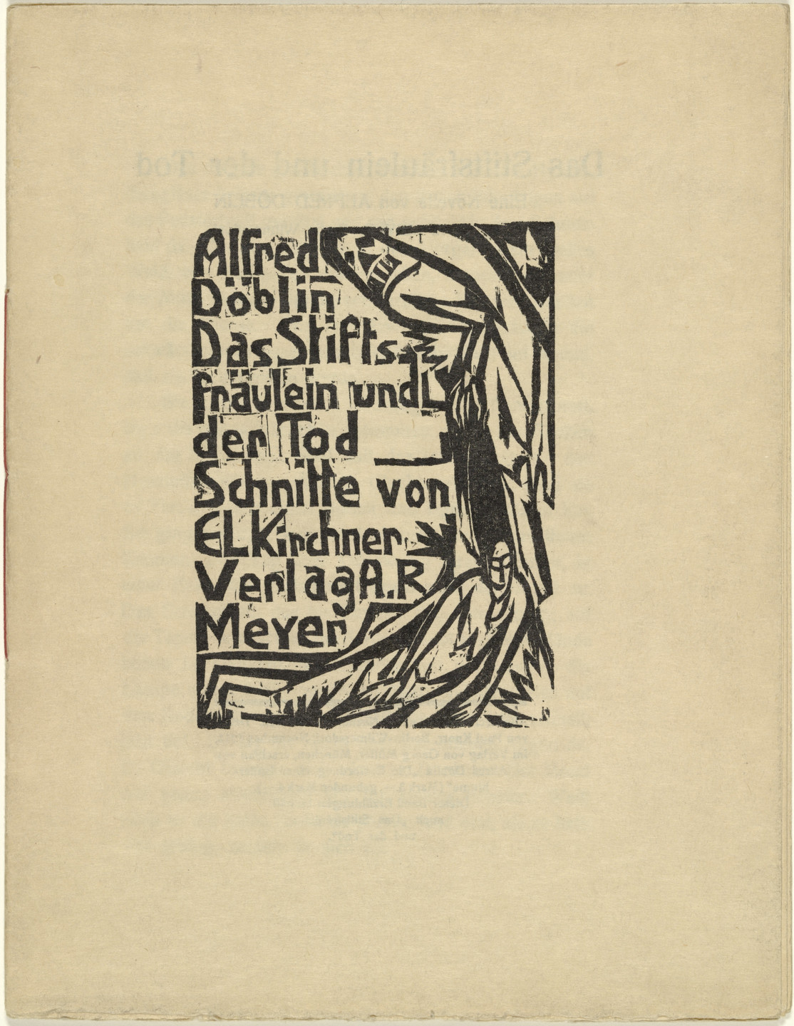 Ernst Ludwig Kirchner. Front cover/title page from Das Stiftsfräulein und der Tod (The Canoness and Death). 1913