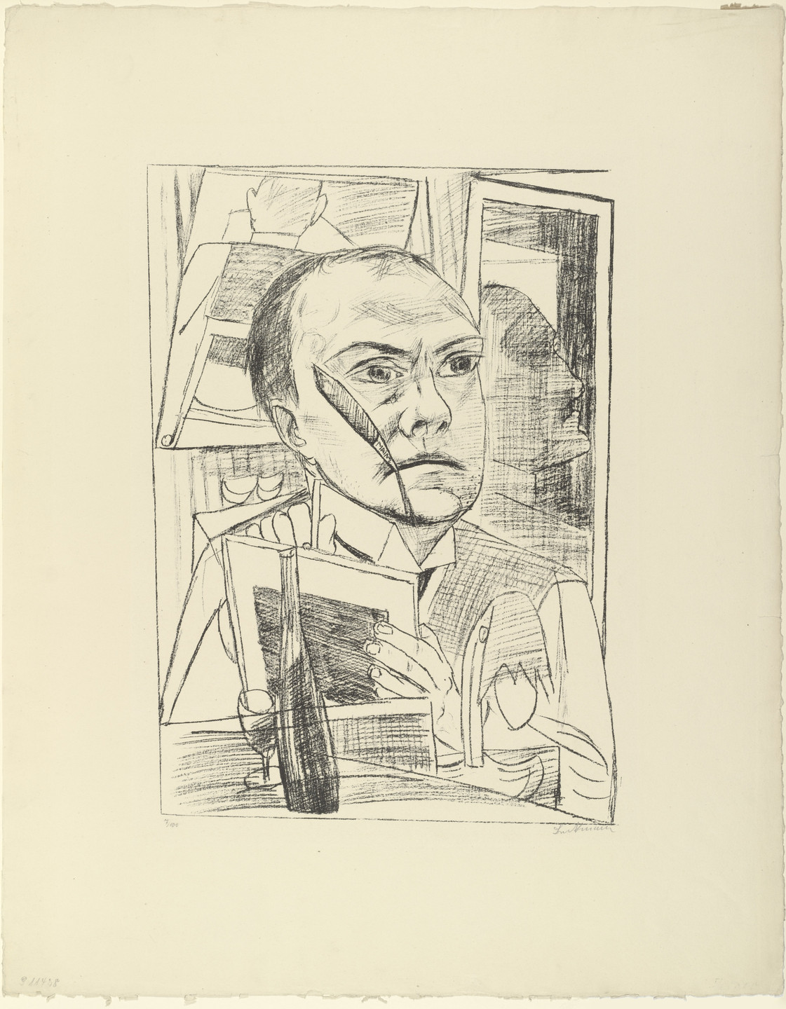 Max Beckmann. Self-Portrait in the Hotel (Selbst im Hotel) from Trip to Berlin 1922 (Berliner Reise 1922). 1922