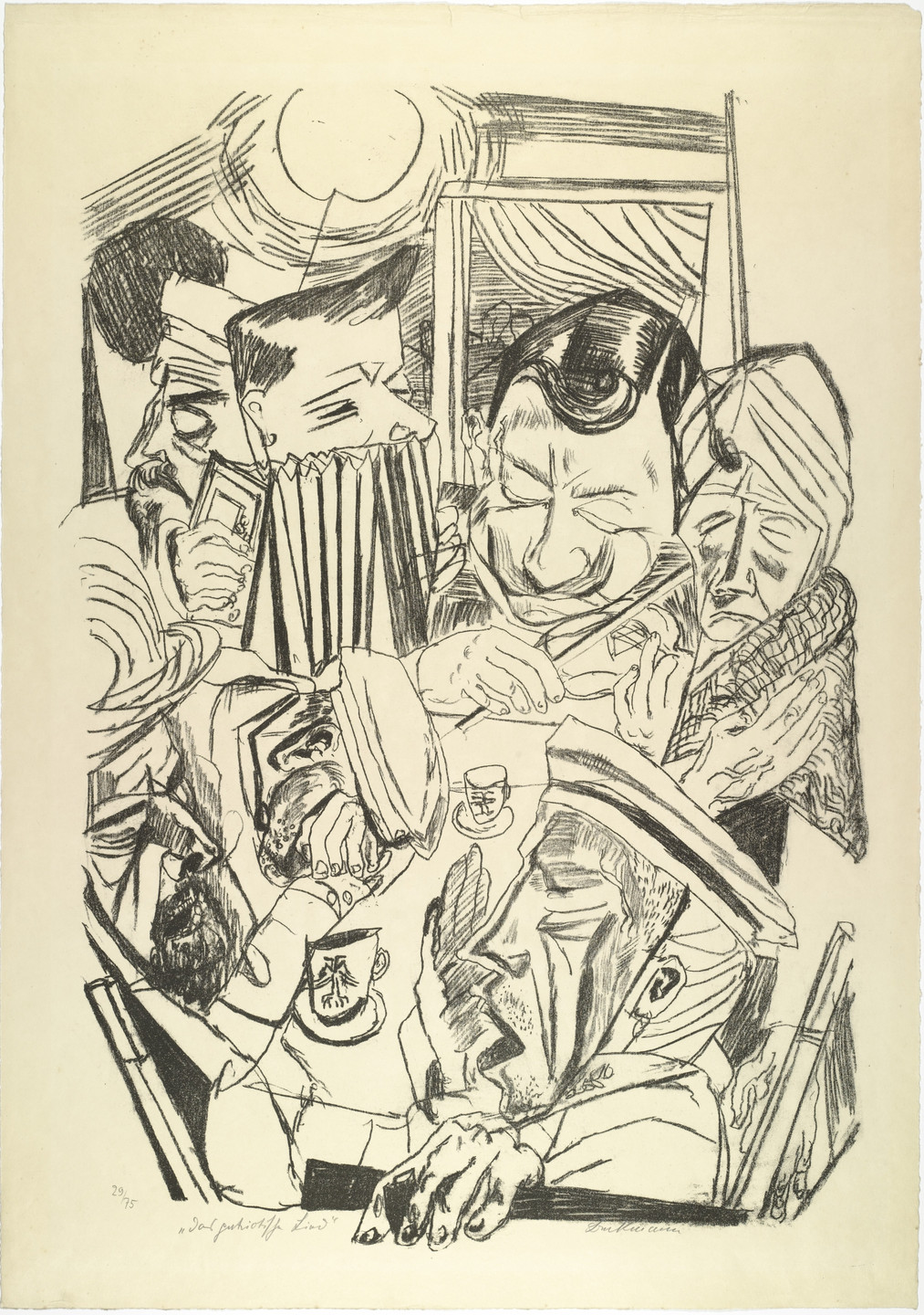 Max Beckmann. The Patriotic Song (plate 9) [Das patriotische Lied (Blatt 9)] from Hell (Die Hölle). (1919)