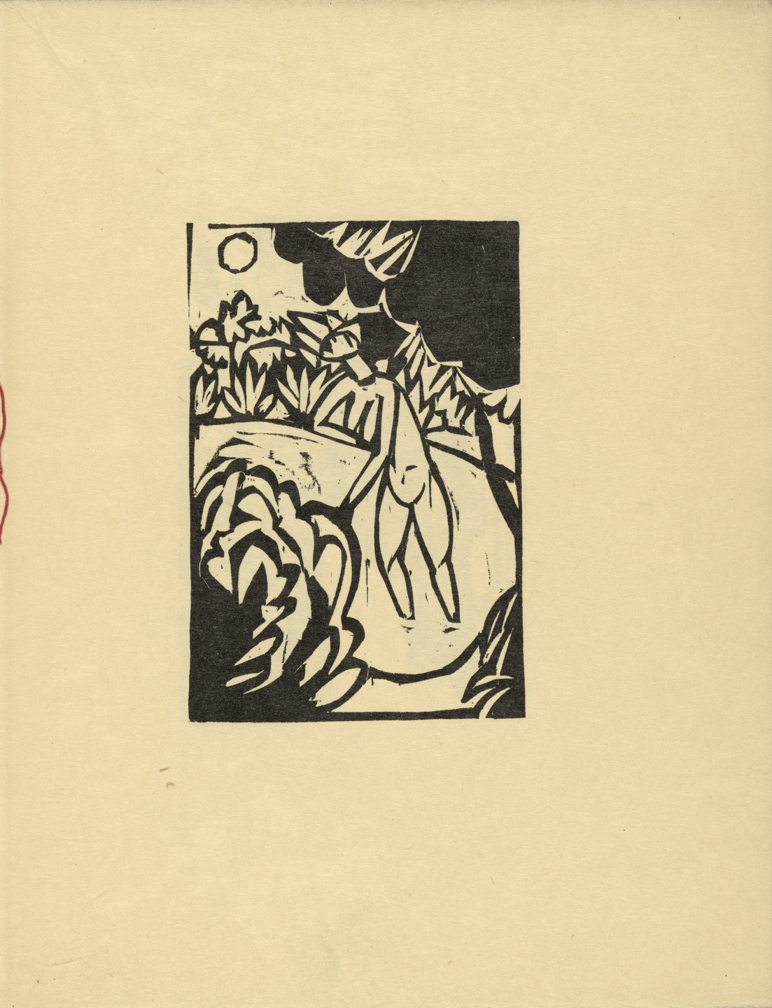 Ernst Ludwig Kirchner. The Canoness in the Lake (Das Stiftsfräulein im See) (plate, folio 4) from Das Stiftsfräulein und der Tod (The Canoness and Death). 1913