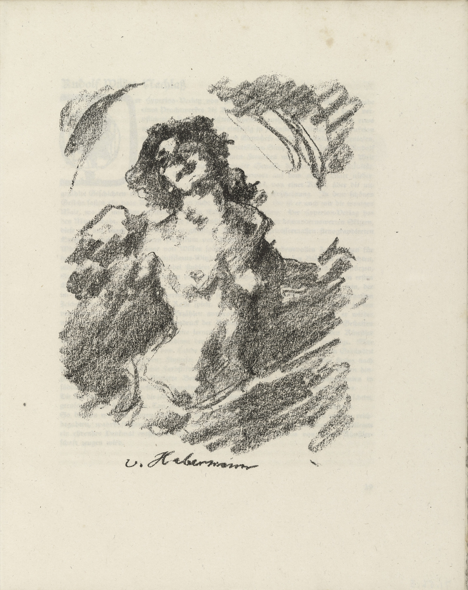 Lovis Corinth. Female Half Nude (Weiblicher Halbakt) (plate facing page 28) from Gesammelte Schriften (Collected Writings). 1920