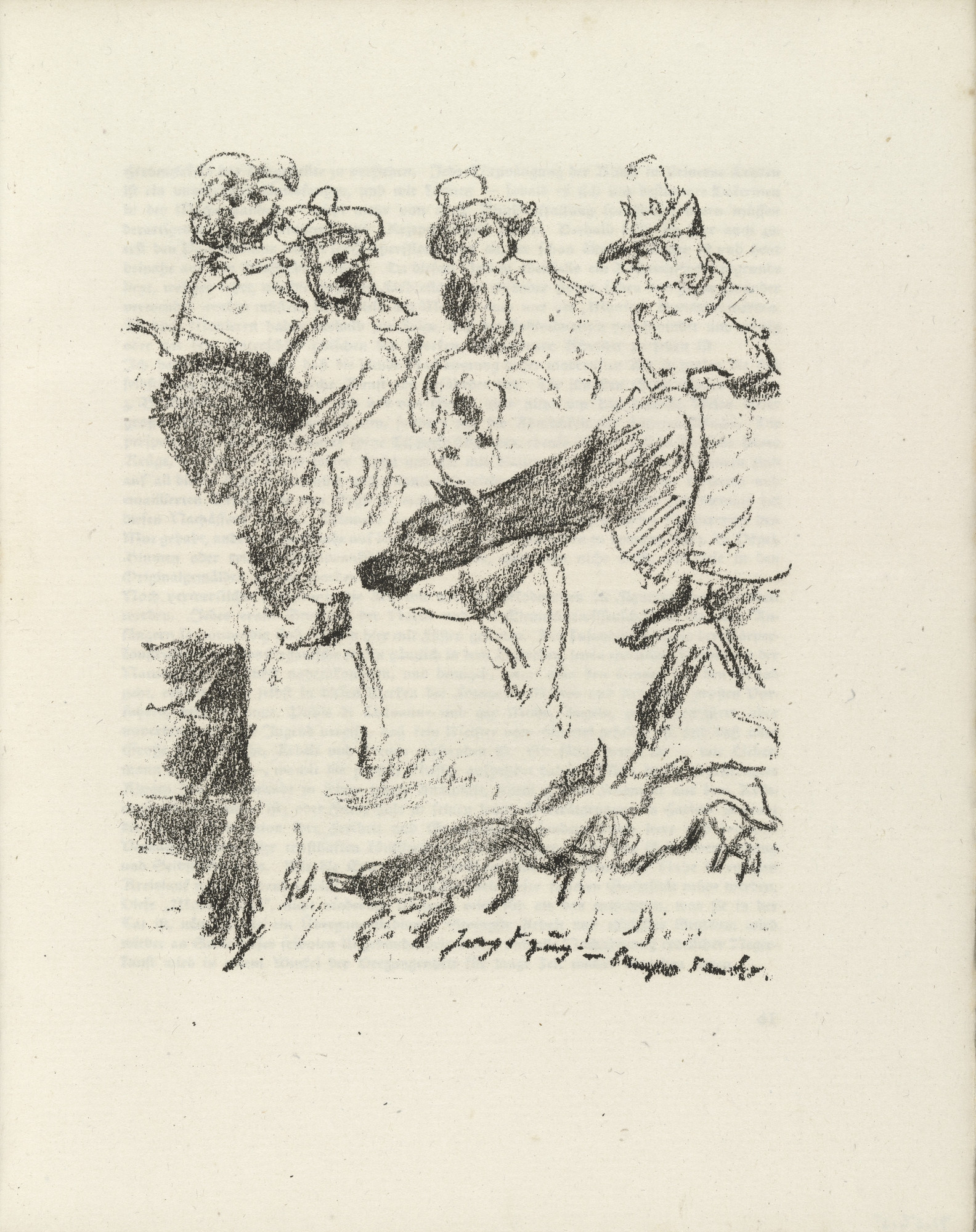 Lovis Corinth. Part of Fresco Painting from Pisa's Campo Santo (Teil eines Freskogemäldes vom Campo Santo zu Pisa) (plate facing page 60) from Gesammelte Schriften (Collected Writings). 1920