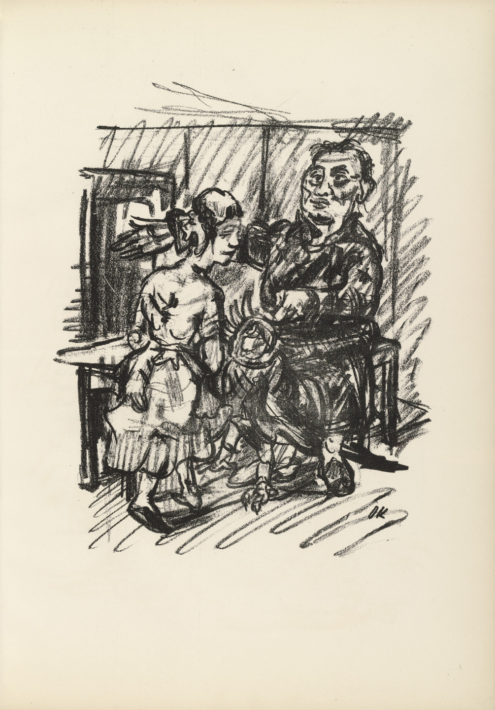 Oskar Kokoschka. Job, Chambermaid and Parrot (Hiob, Kammerjungfrau und Papagei) (plate, page 7) from Hiob (Job). 1916–17, published 1917