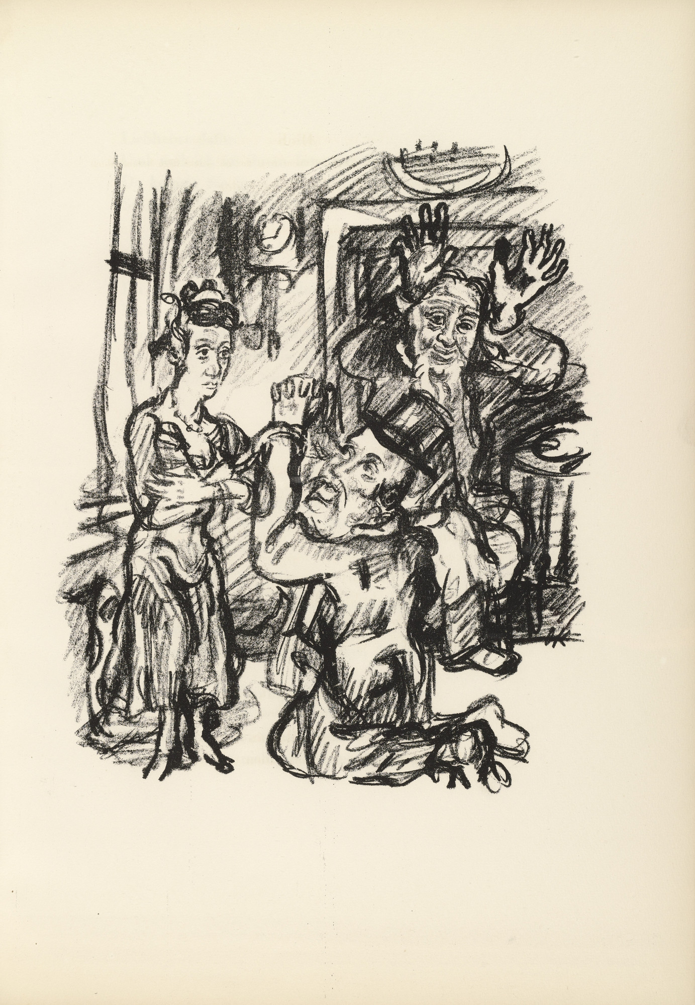 Oskar Kokoschka. Job, Anima and the Contortionist (Hiob, Anima und der Kautschukmann) (plate, page 27) from Hiob (Job). 1917 (executed 1916/17)