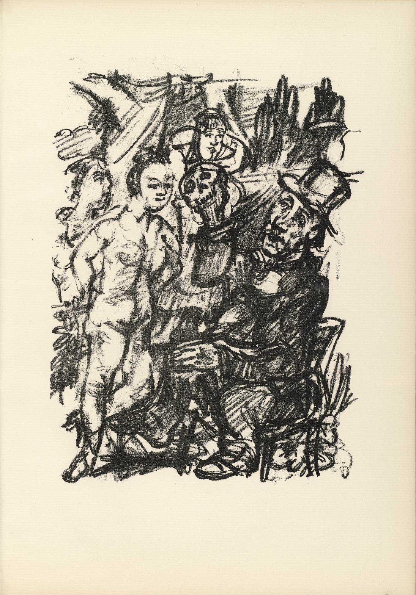 Oskar Kokoschka. Job and the Maidens (Hiob und die Fräuleins) (plate, page 35) from Hiob (Job). 1917 (executed 1916/17)